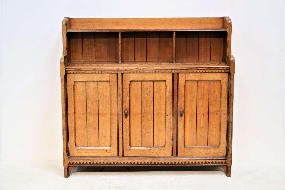 An English arts and crafts bookcase cabinet circa 1880