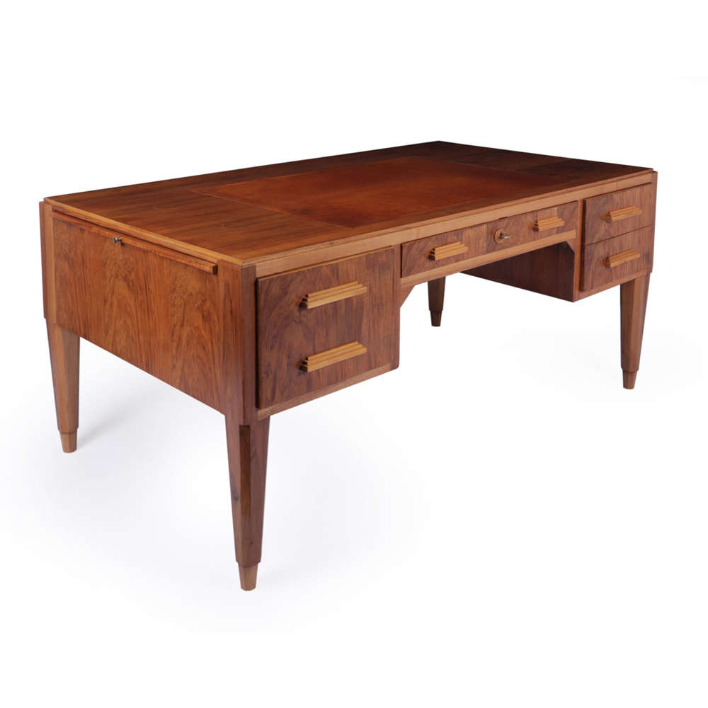 French Art Deco Walnut Desk c1930