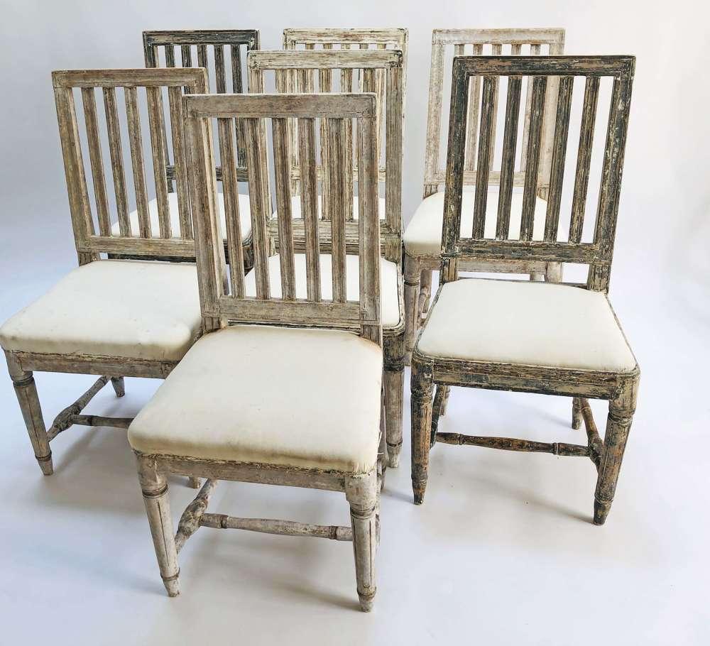 Harlequin set of 7 18th c Swedish Gustavian Dining Chairs c 1780