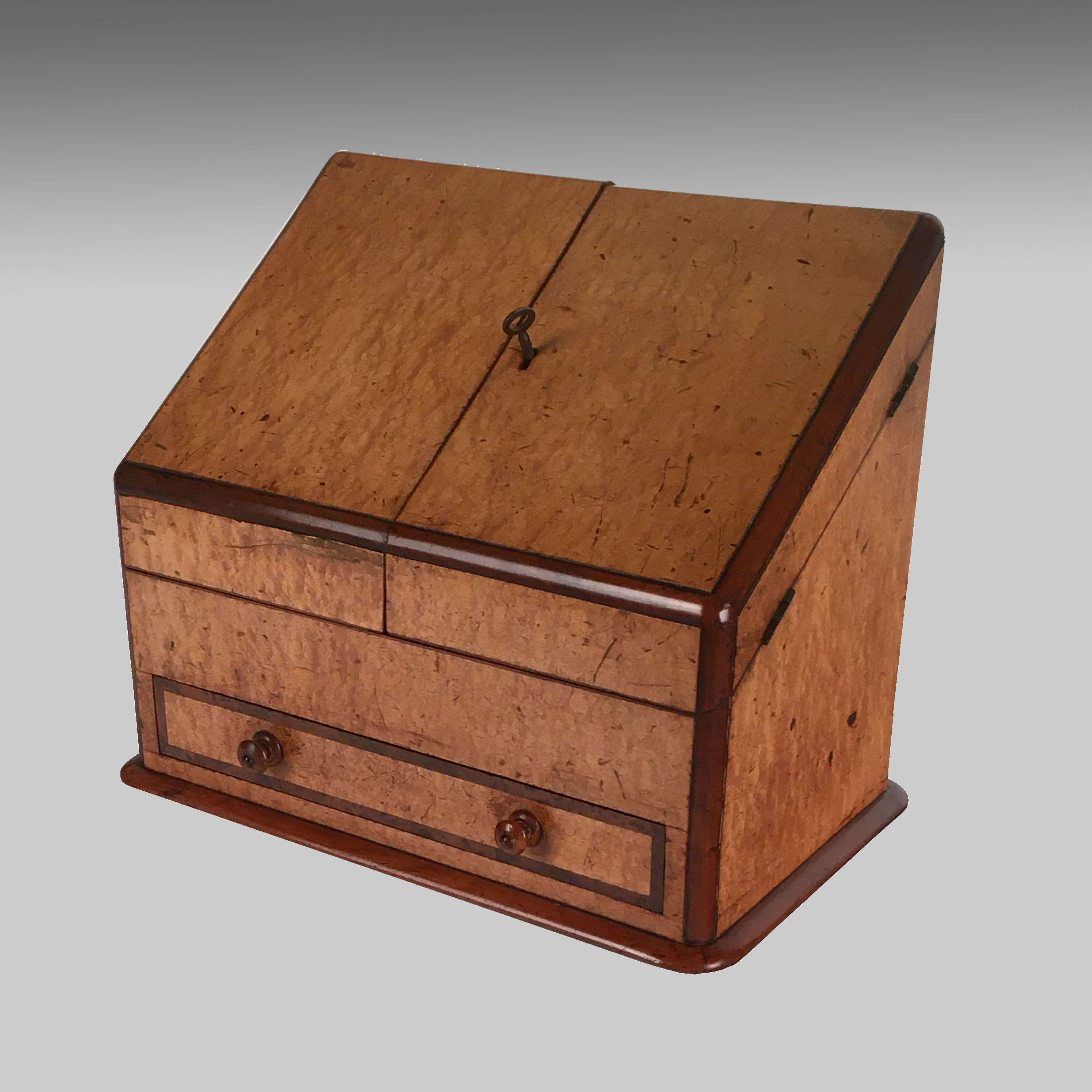 Victorian veneered stationery box