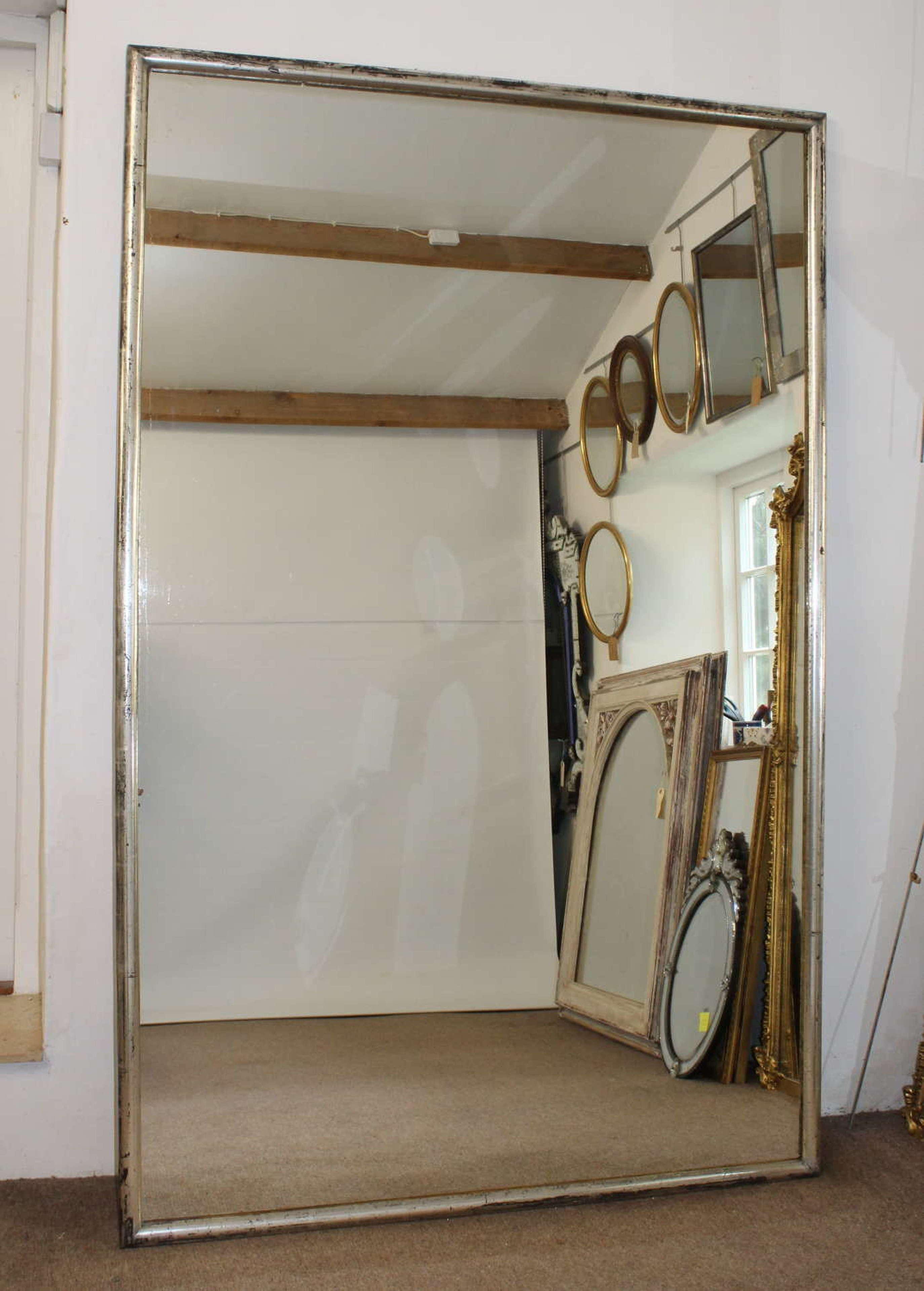 Huge silver framed Vintage bistro mirror