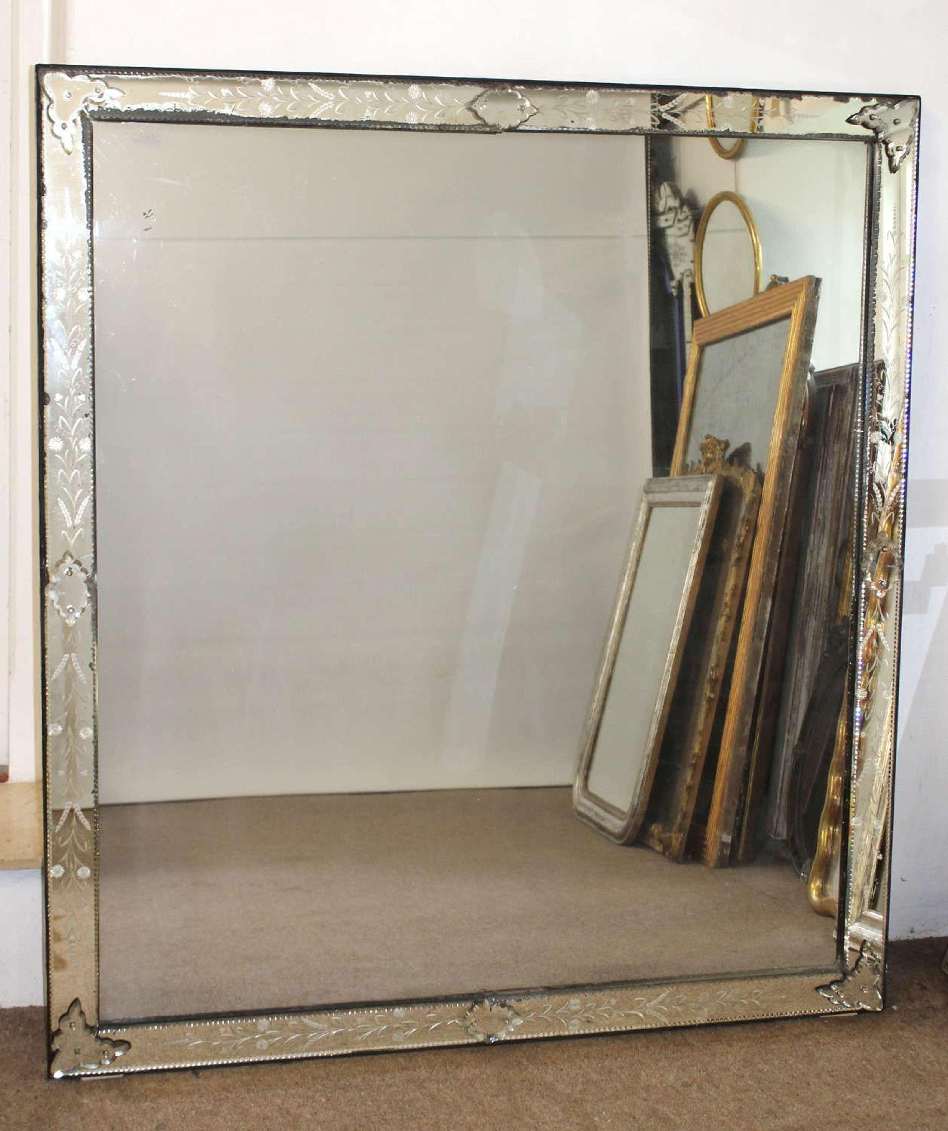 Large Antique Venetian Mirror With Mercury Glass In Antique Venetian Mirrors