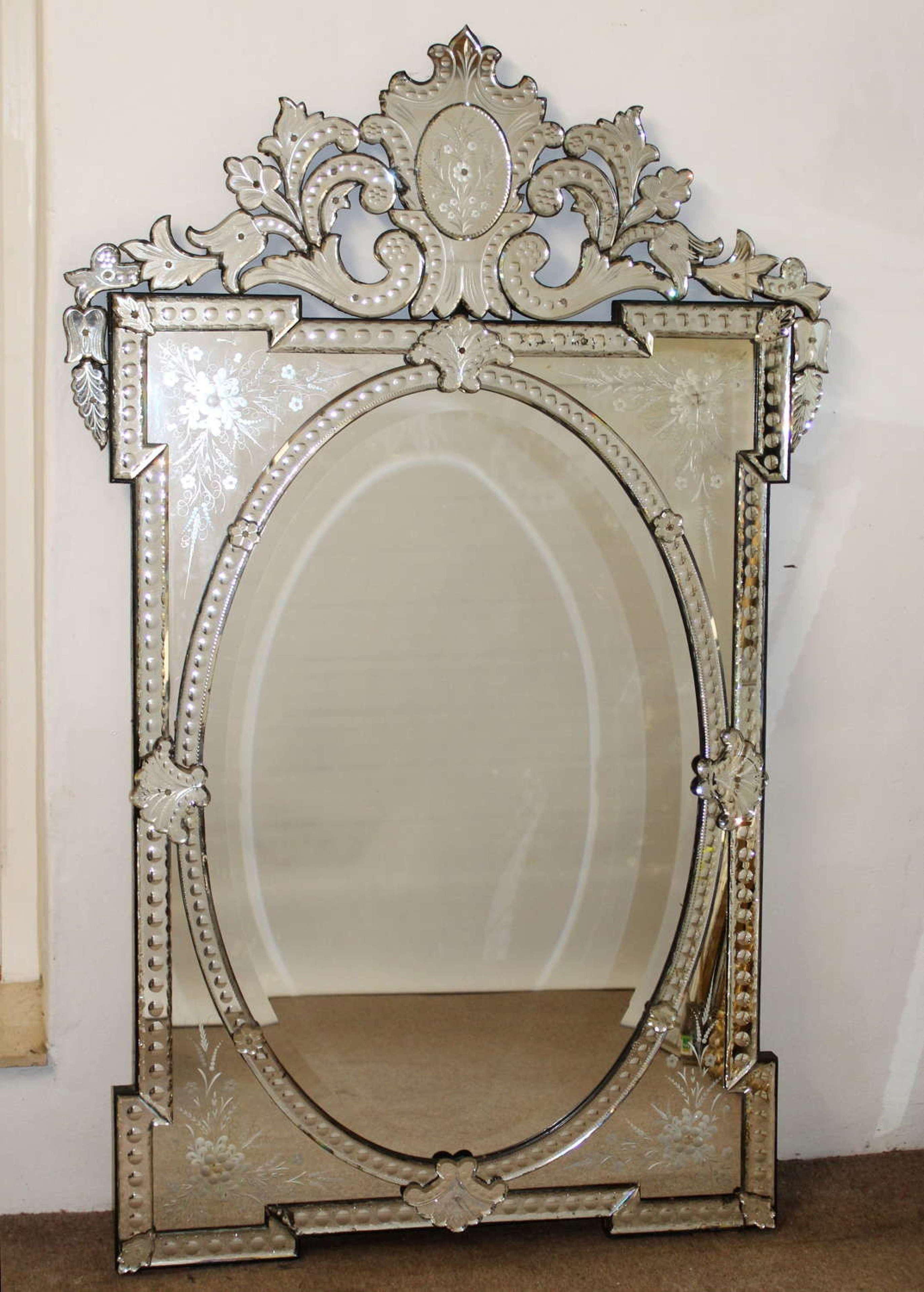 Large Decorative Antique Venetian Mirror In Antique Venetian Mirrors