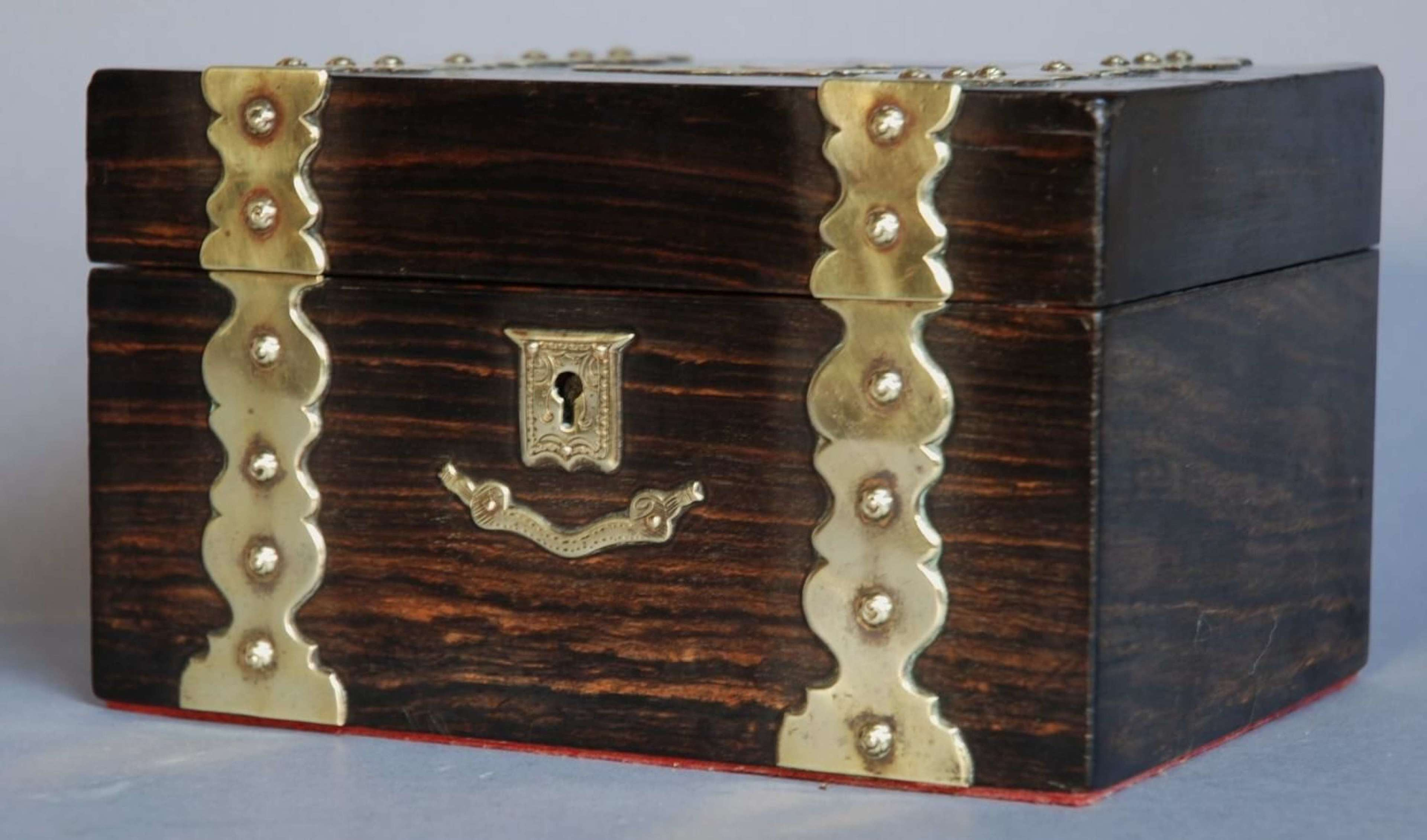 19thc coromandel wood & brass bound tea caddy