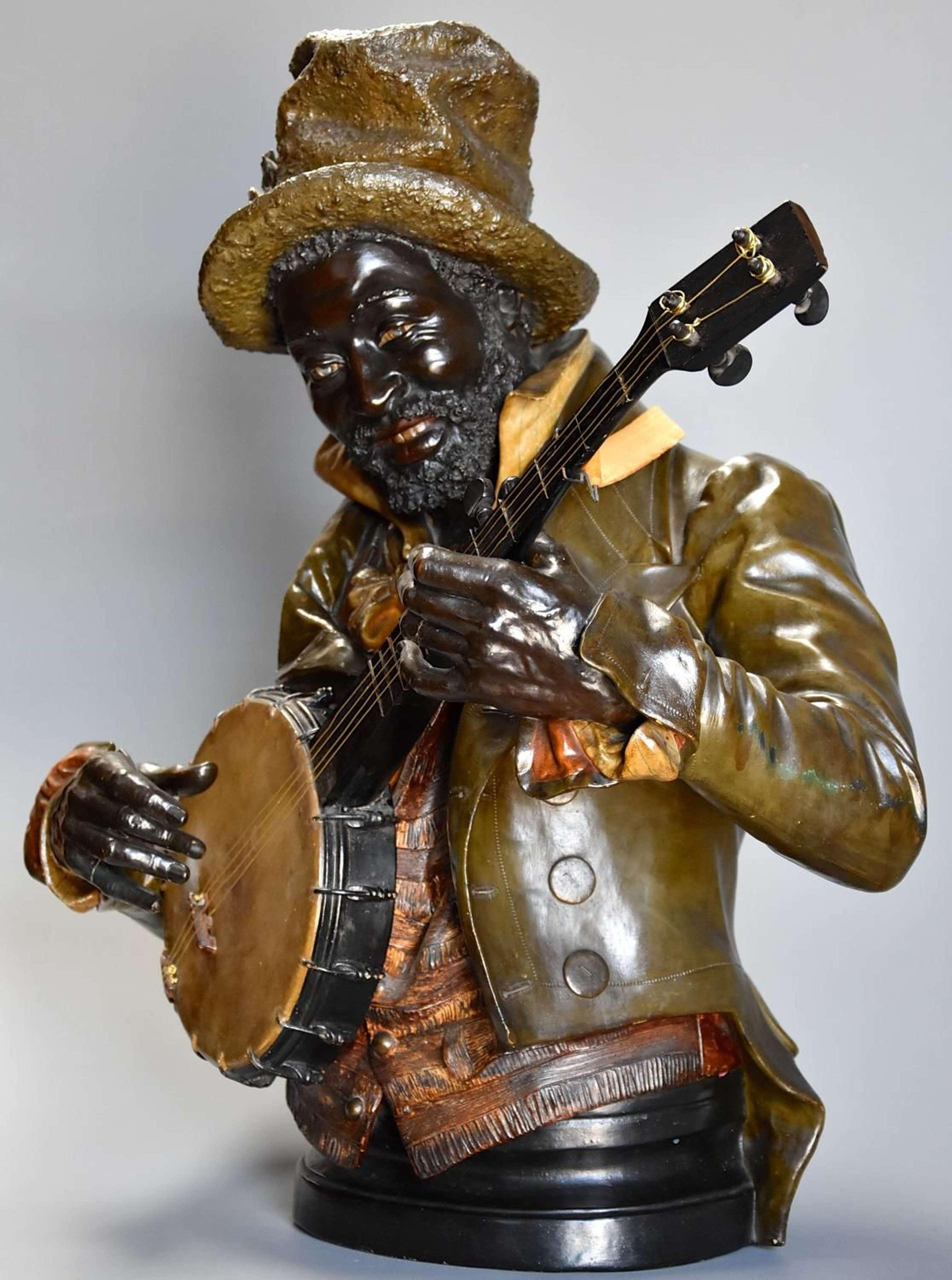 19th century life size terracotta 'Banjo Player' After Pietro Calvi