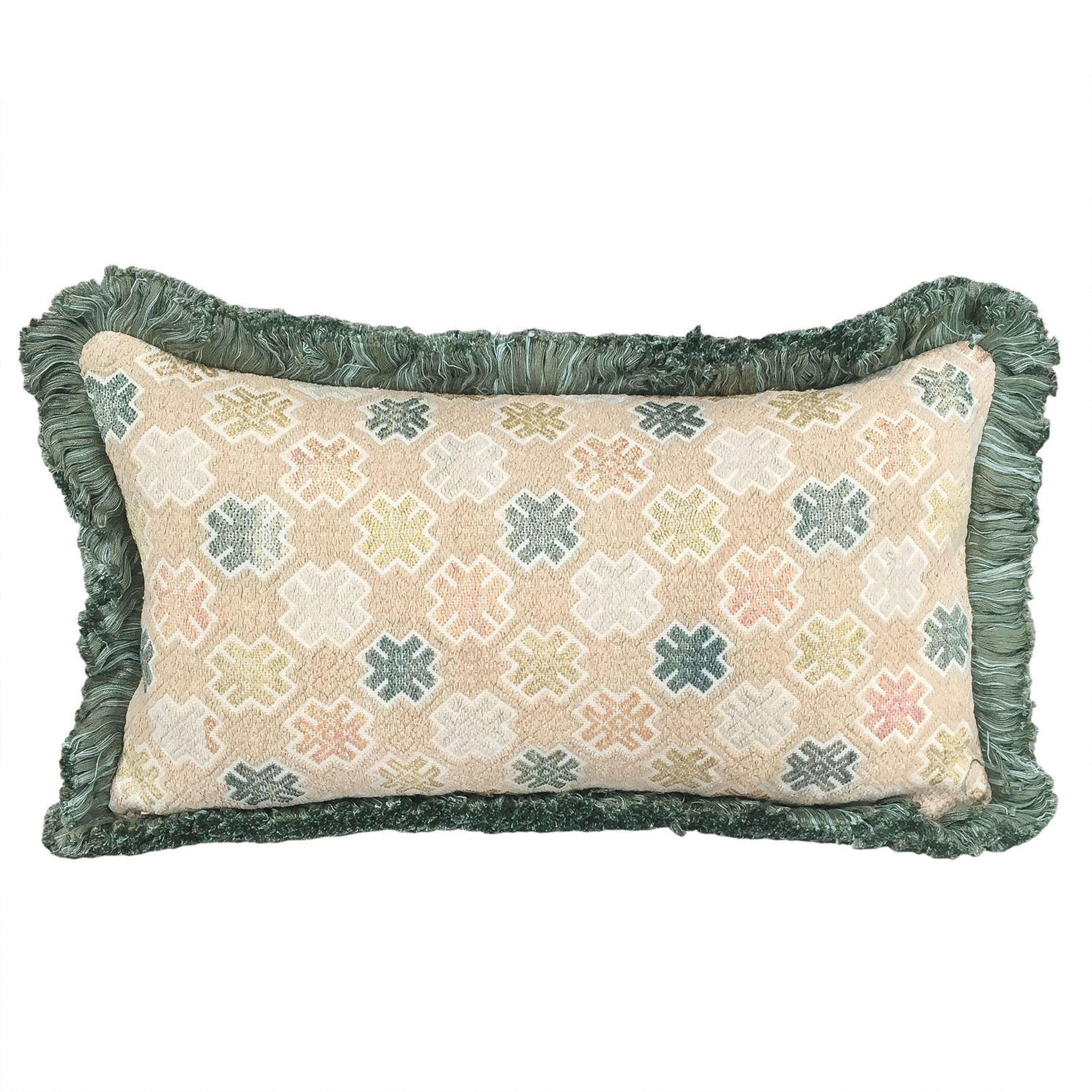 Zhuang Cushion with Green Fringe Trim