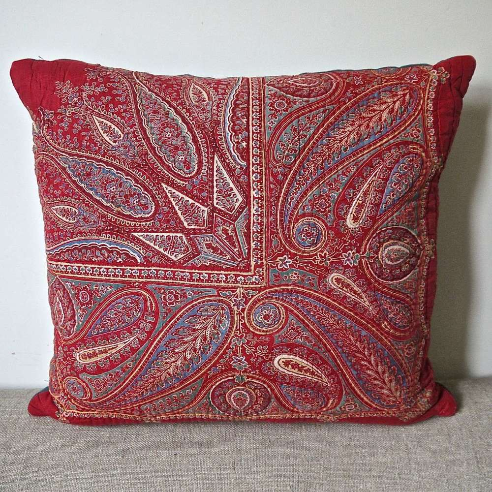 Hand block printed Red paisley Pillow