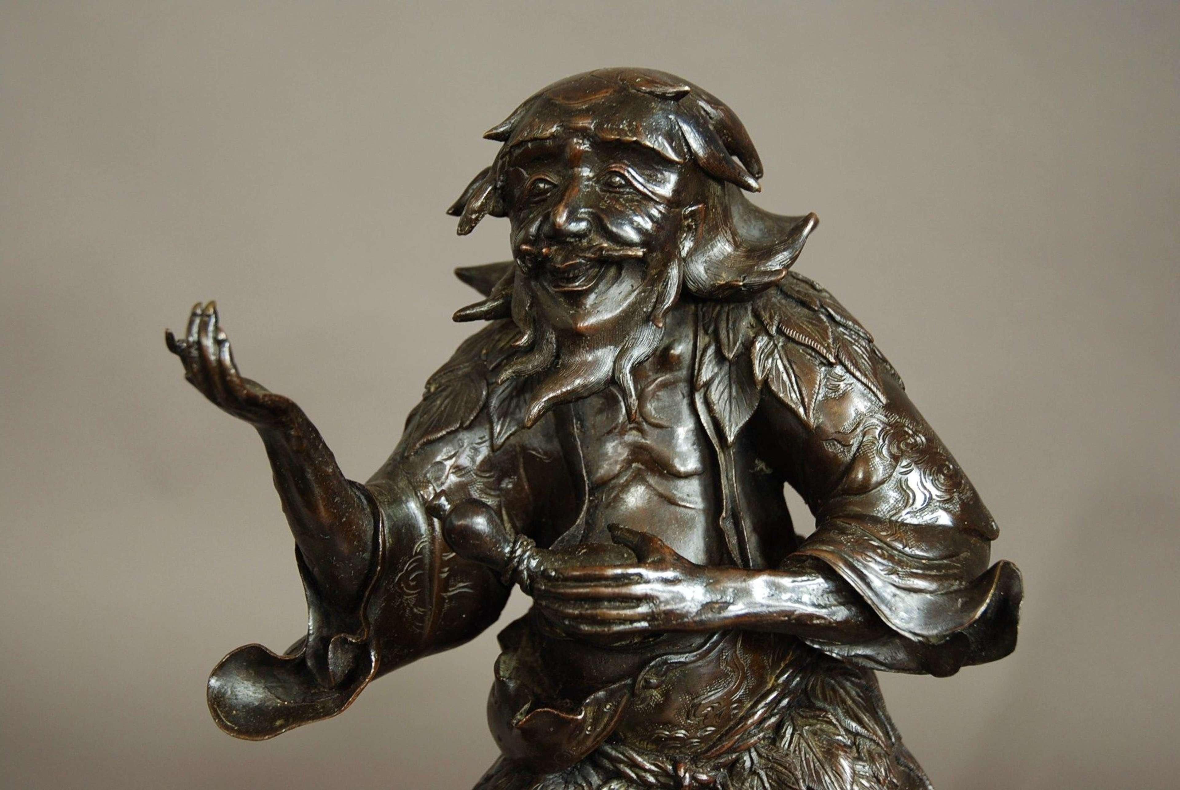 Late 19th century Chinese bronze of wild man