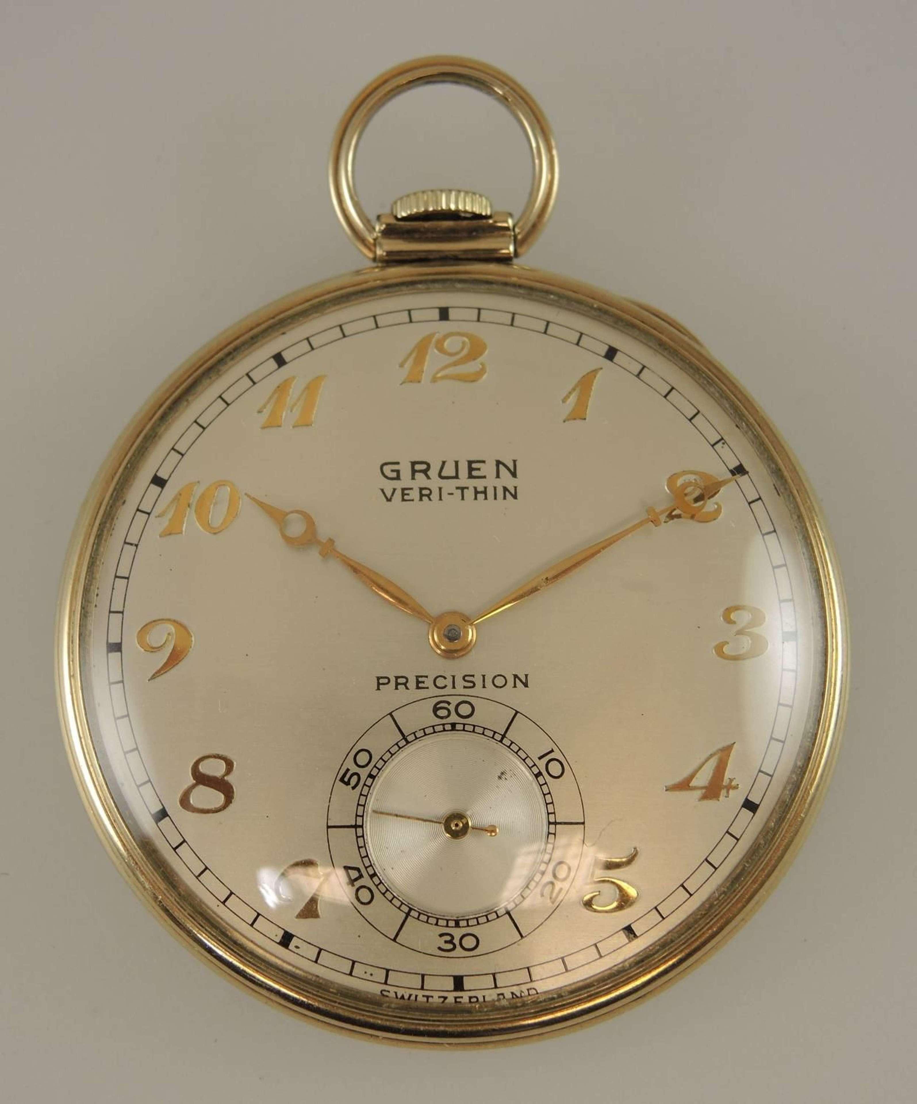 Gruen VERI-THIN pocket watch c1920 in Antique Pocket Watches