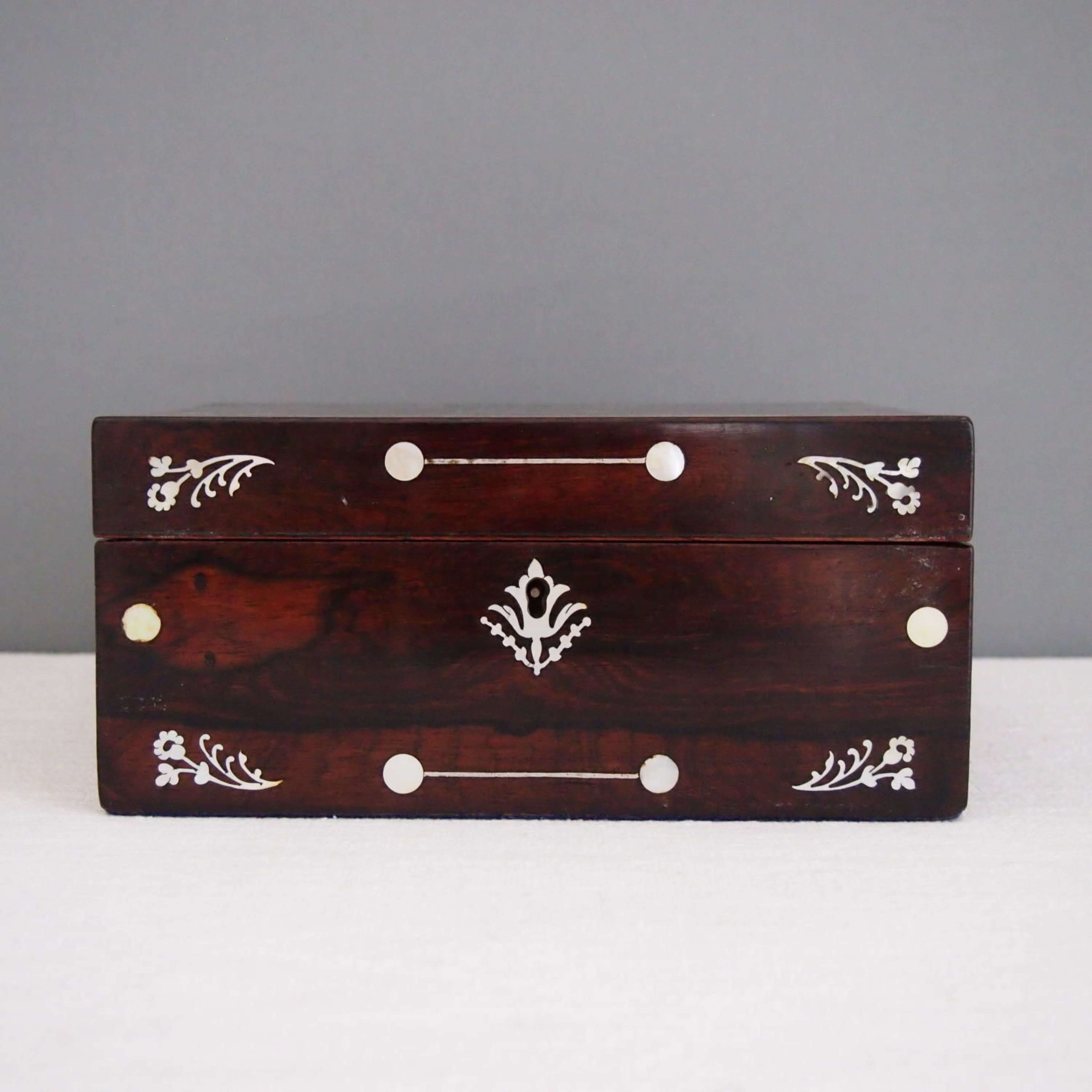 Mother of Pearl inlaid Mahogany Box c 1910