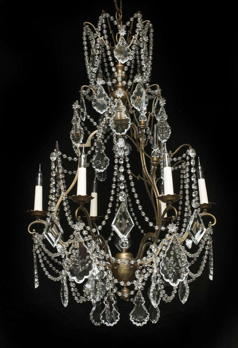 Vintage Chandelier Crystal Beaded Drape 1930's Antique