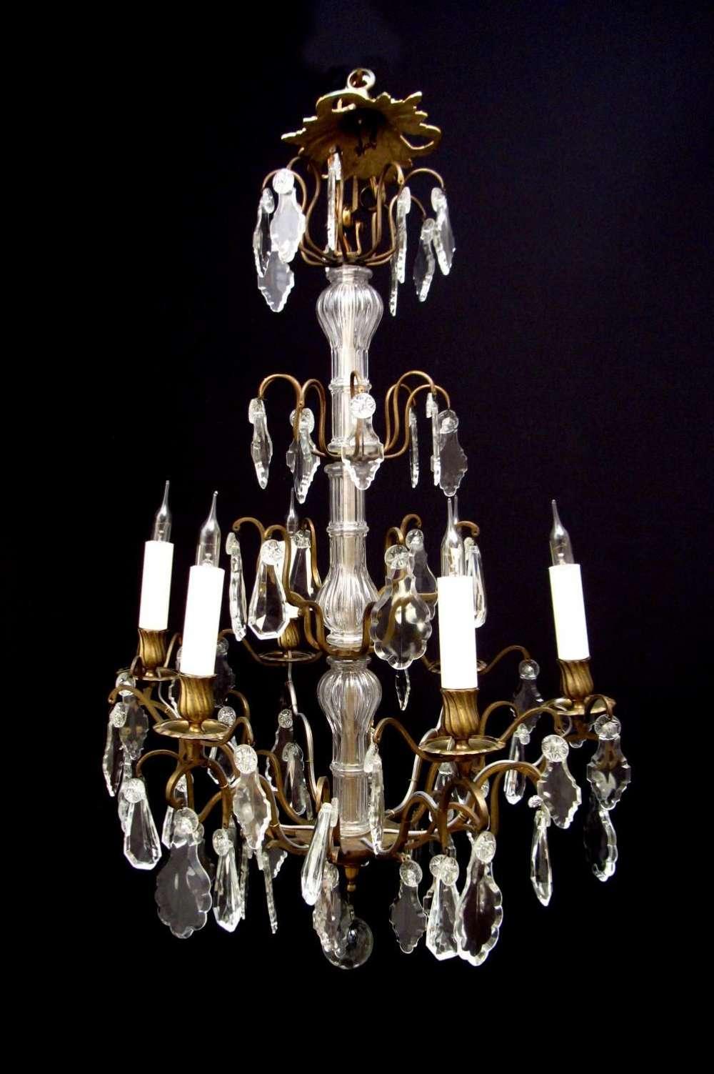 A GEORGE II CUT GLASS EIGHT LIGHT CHANDELIER | CIRCA 1750