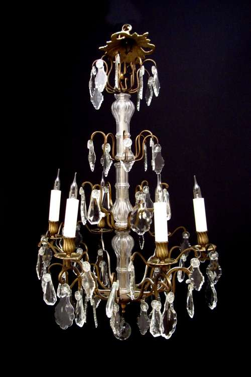 Large Gilt Brass And Glass Chandelier | Люстра