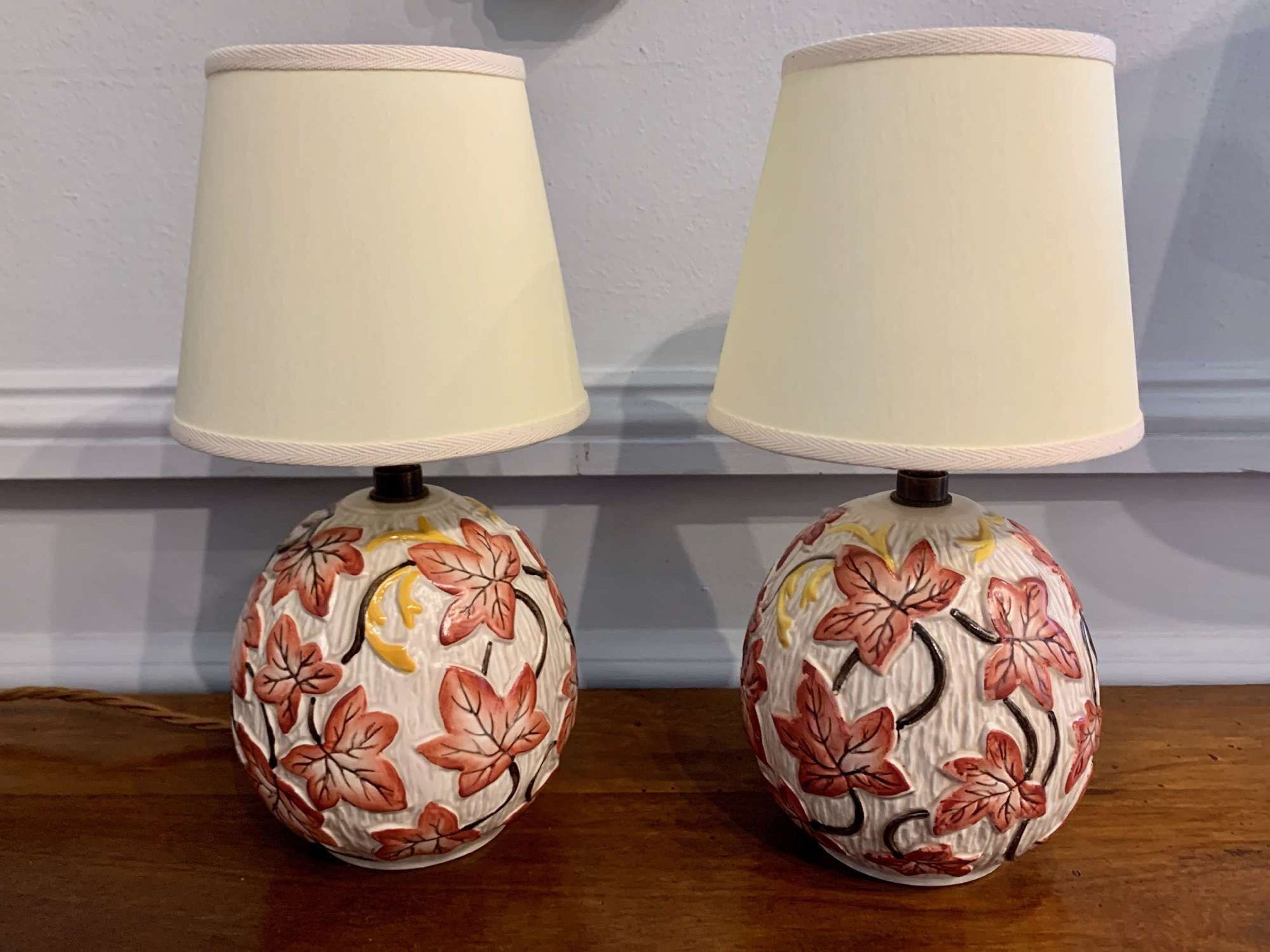 red ivy 1950's bedside ceramic lamps