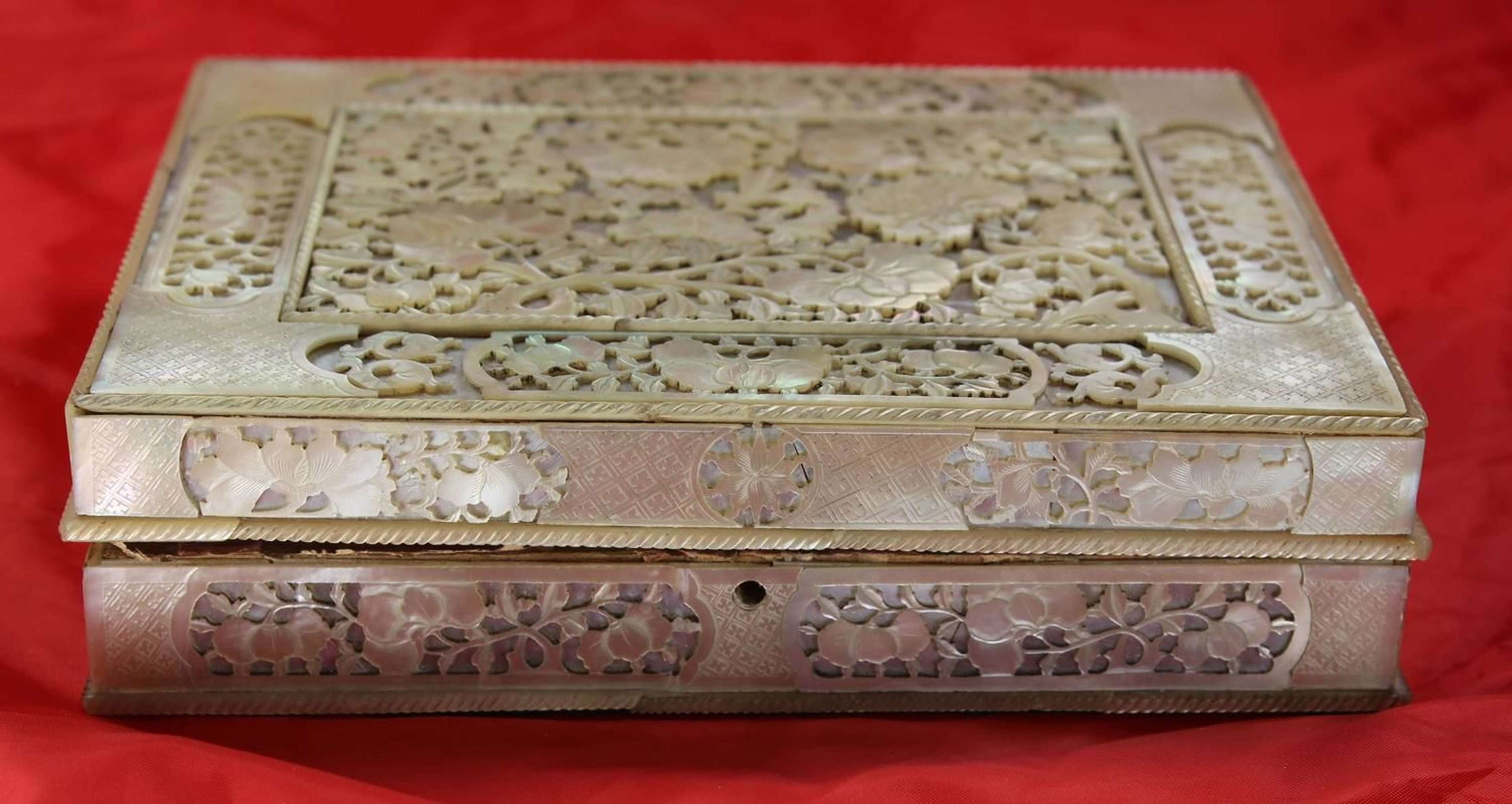18C Mother of pearl box, interior boxes and counters