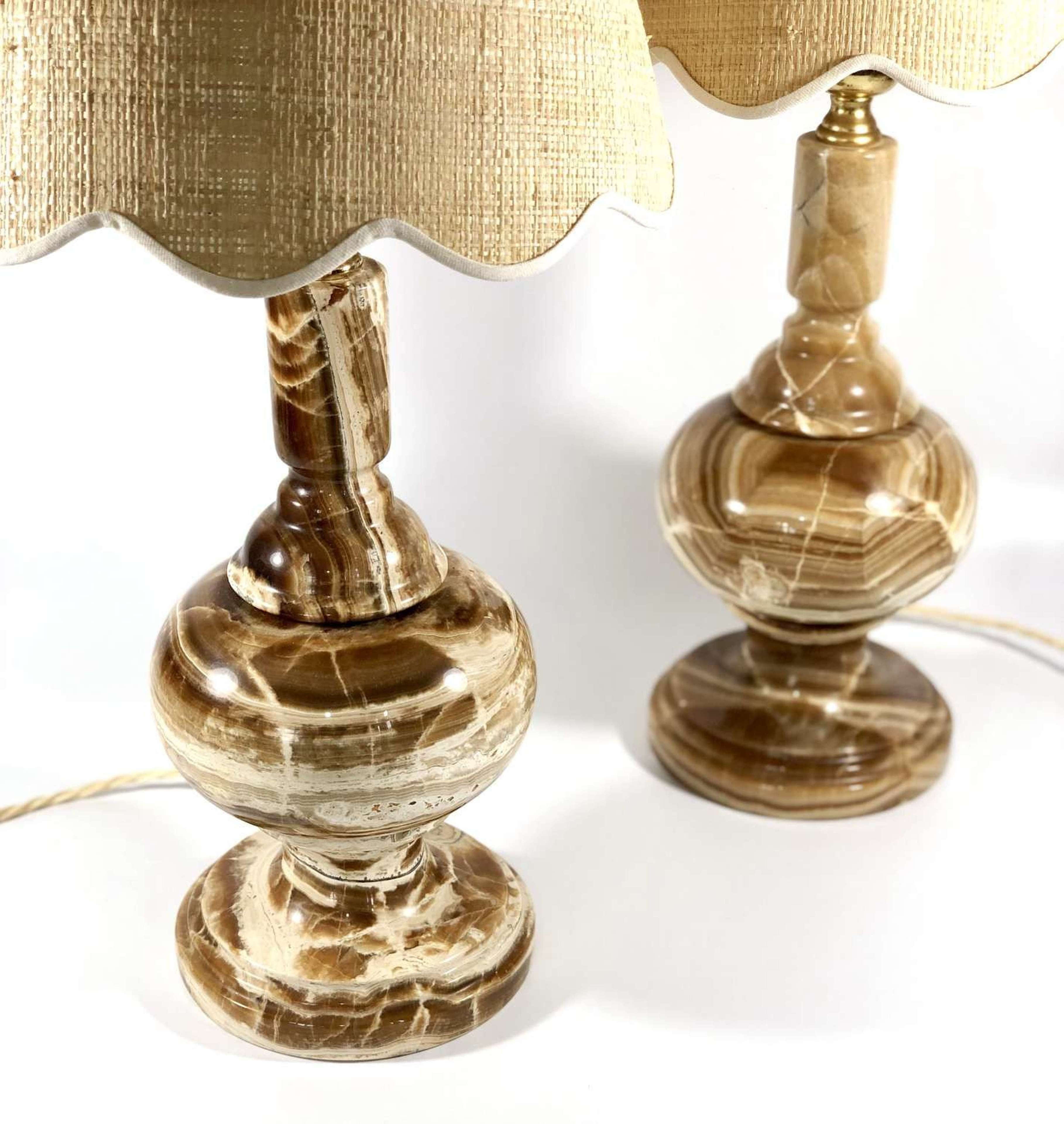 Chic Pair Of Onyx Stone Table Lamps In