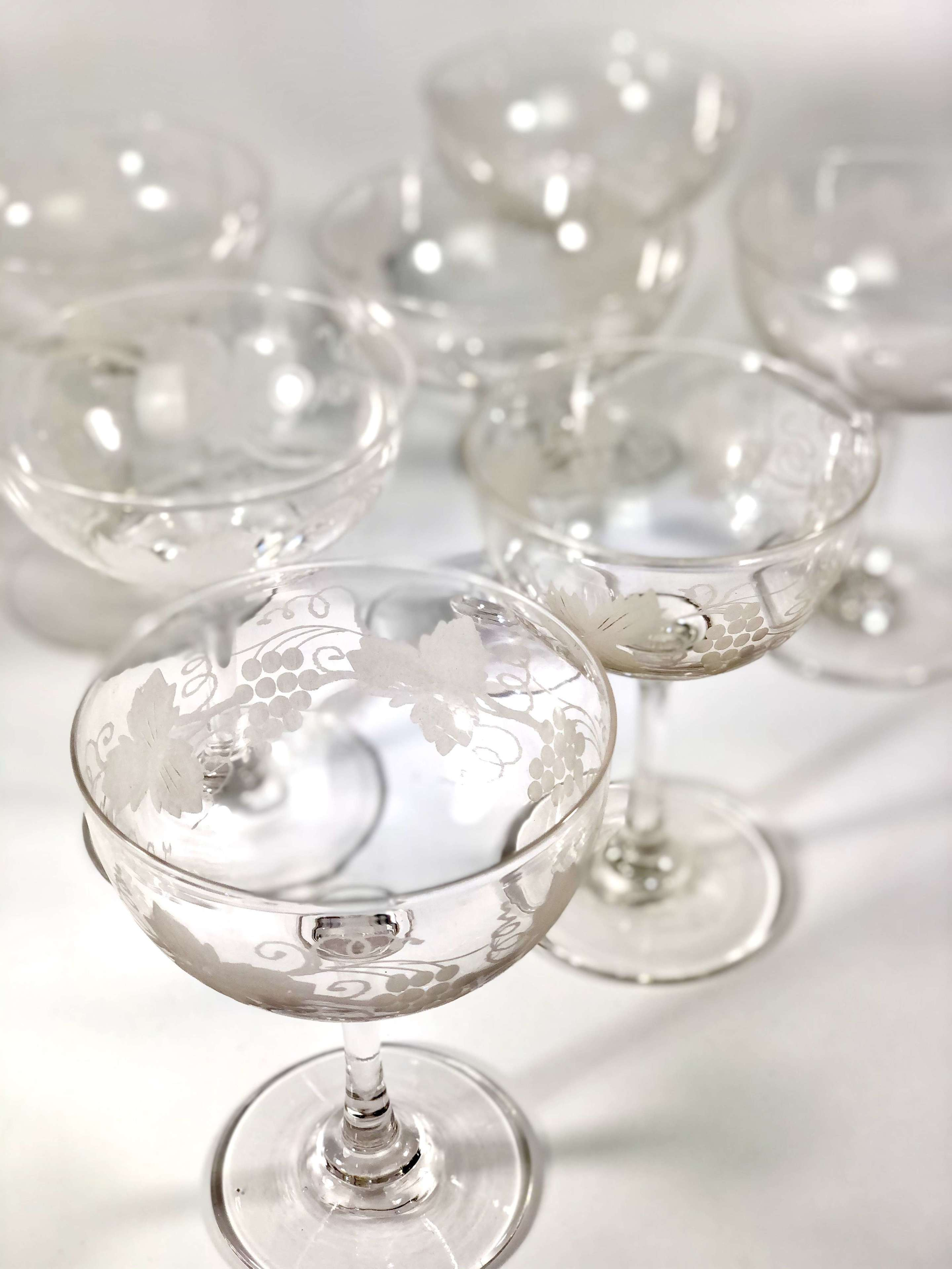 Edwardian Vine Etched Champagne Or Cocktail Coupes In Antique Wine Glasses Carafes Drinking Glasses