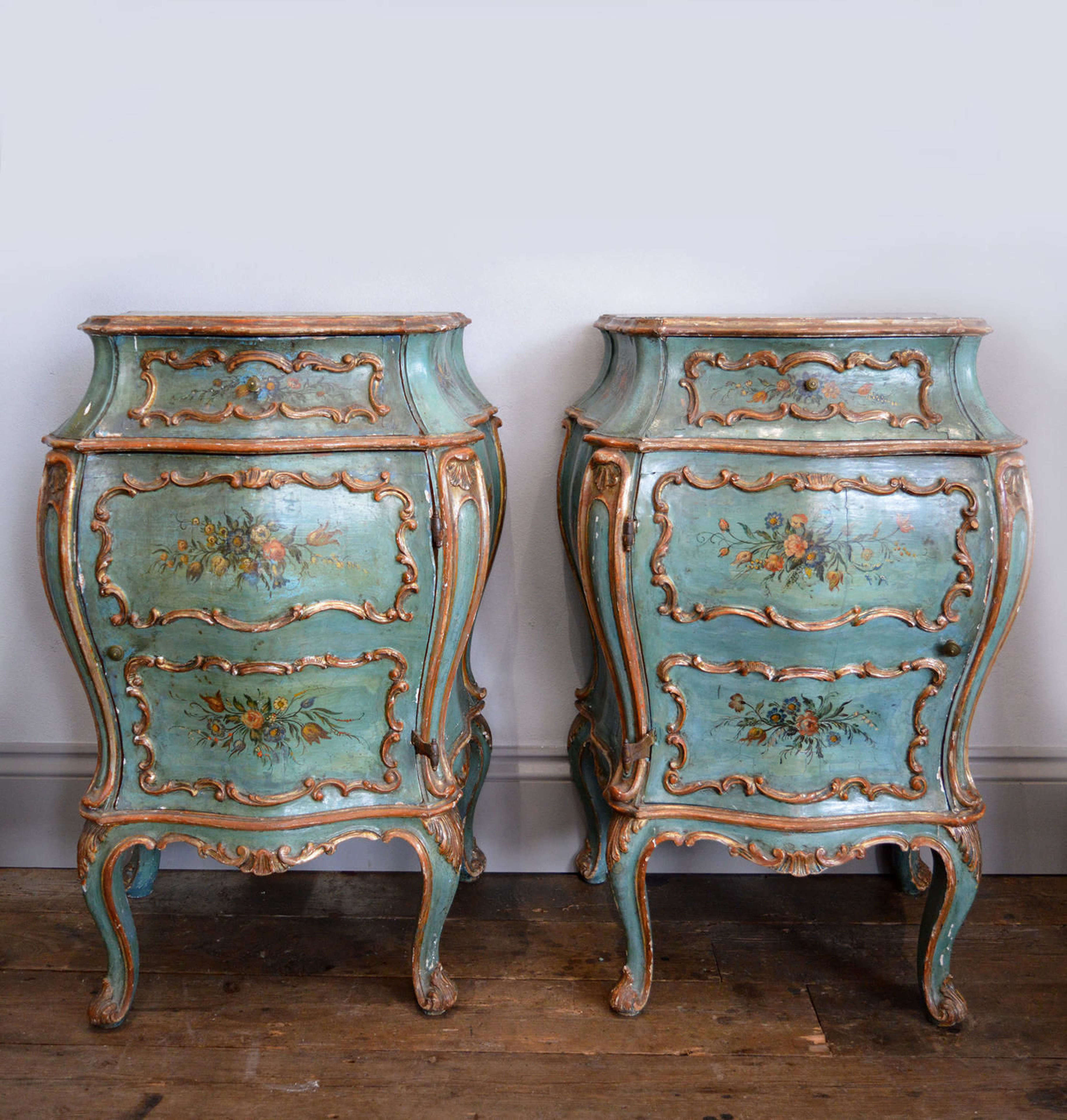 Pair of Hand Painted Venetian Bedside cabinets