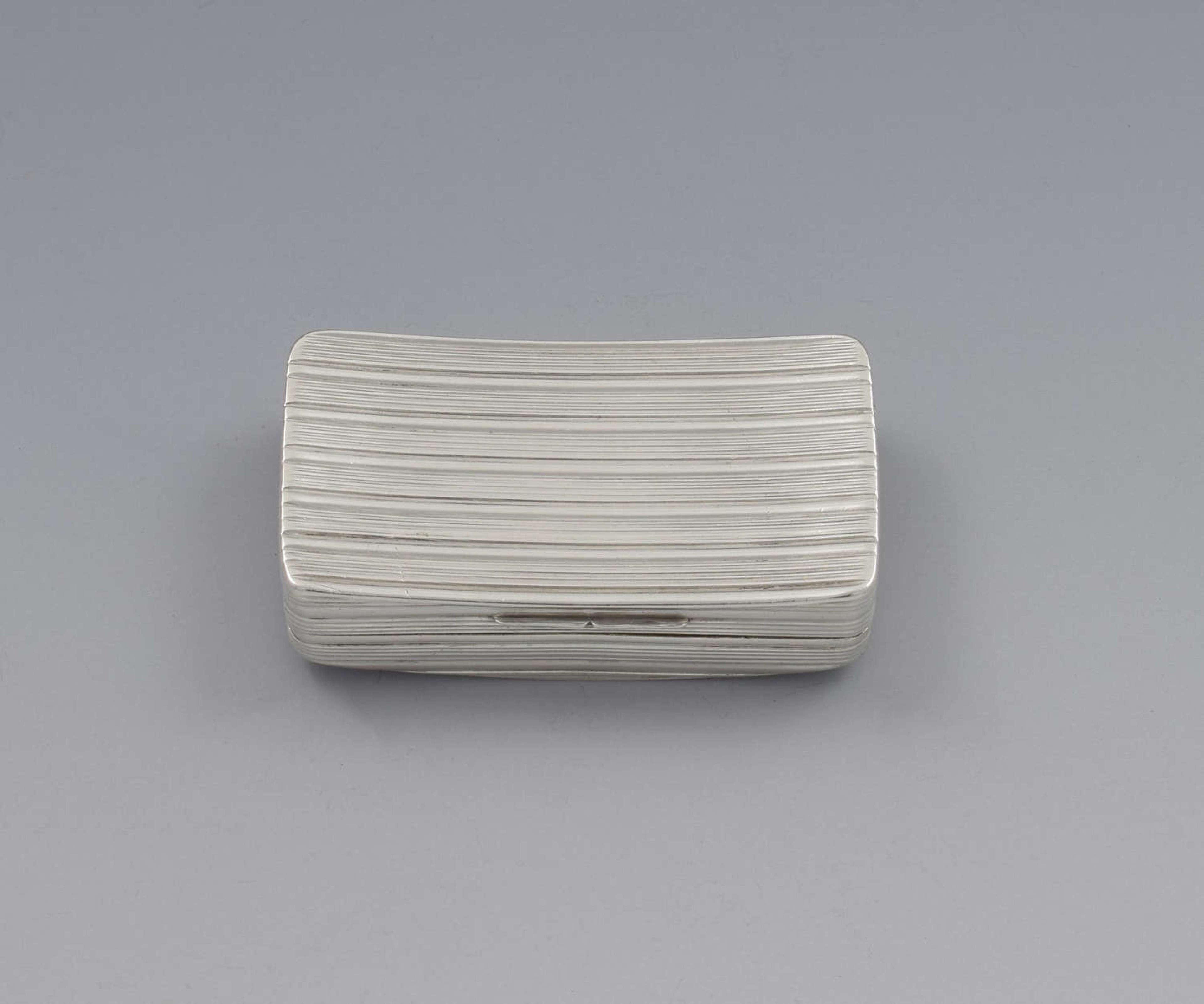 Georgian Ribbed Silver Snuff Box Samuel Pemberton