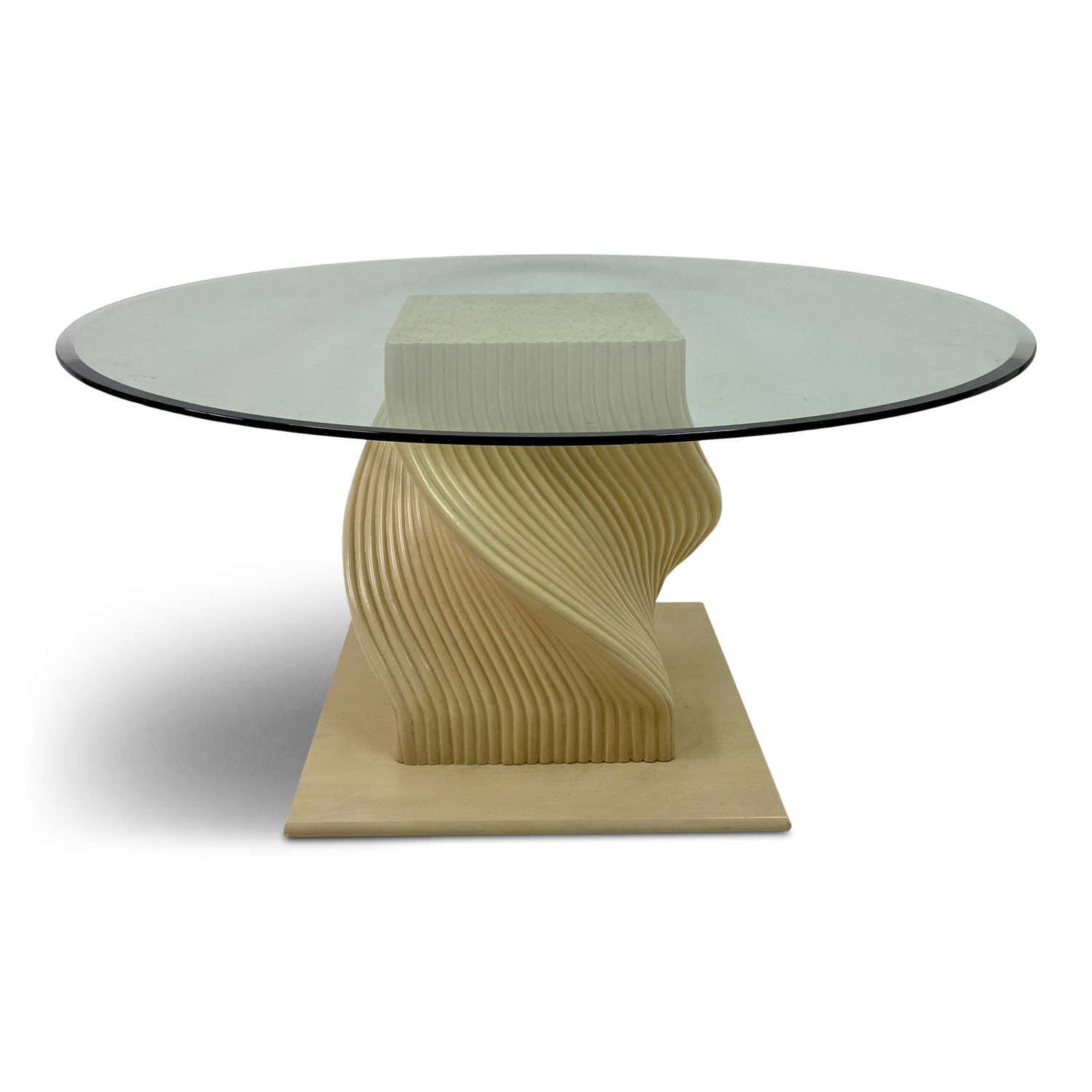 Picture of: 1980s Spiral Bamboo Dining Table With Glass Top In Antique Dining Tables
