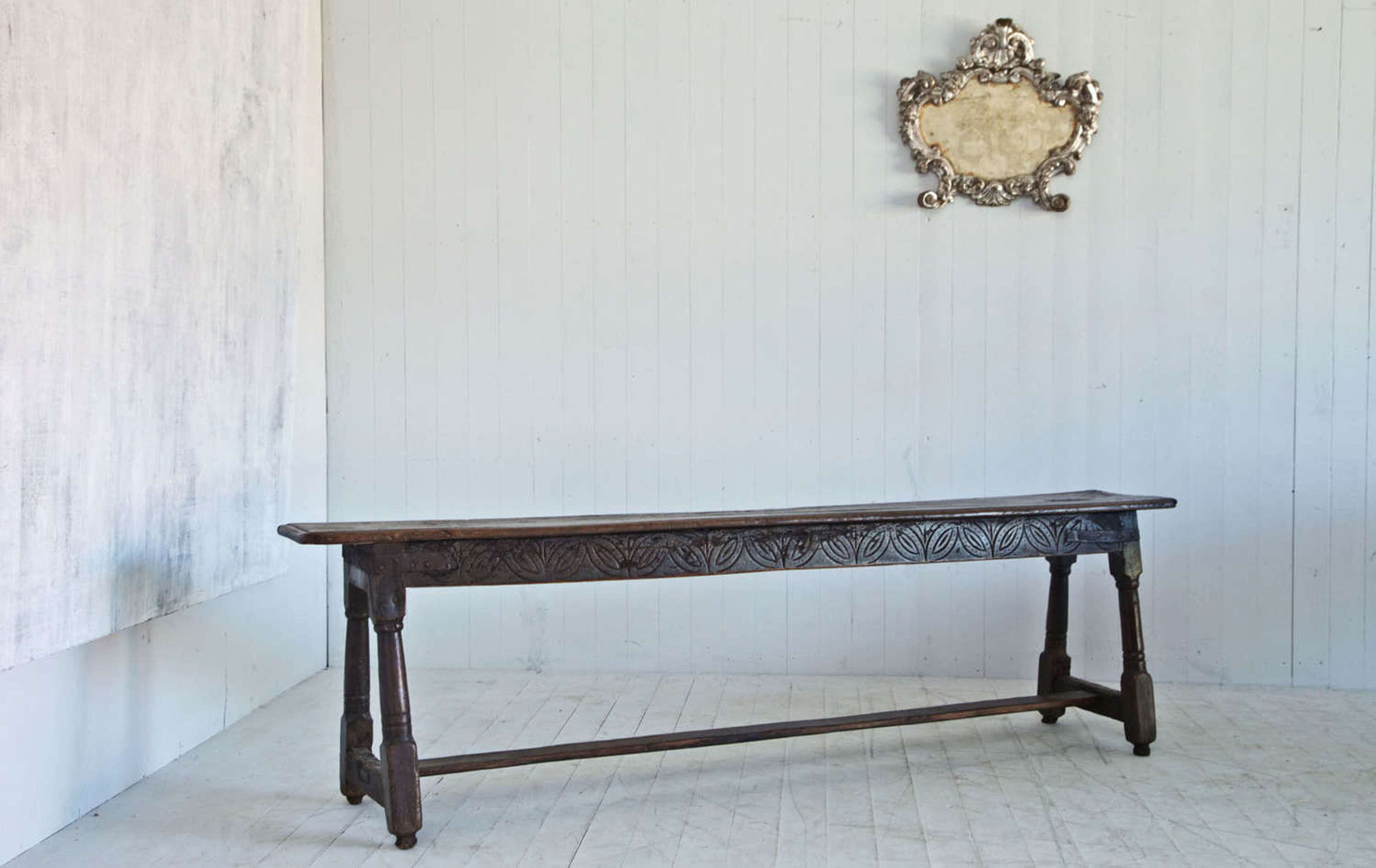 Carved bench, table, 18th Century table