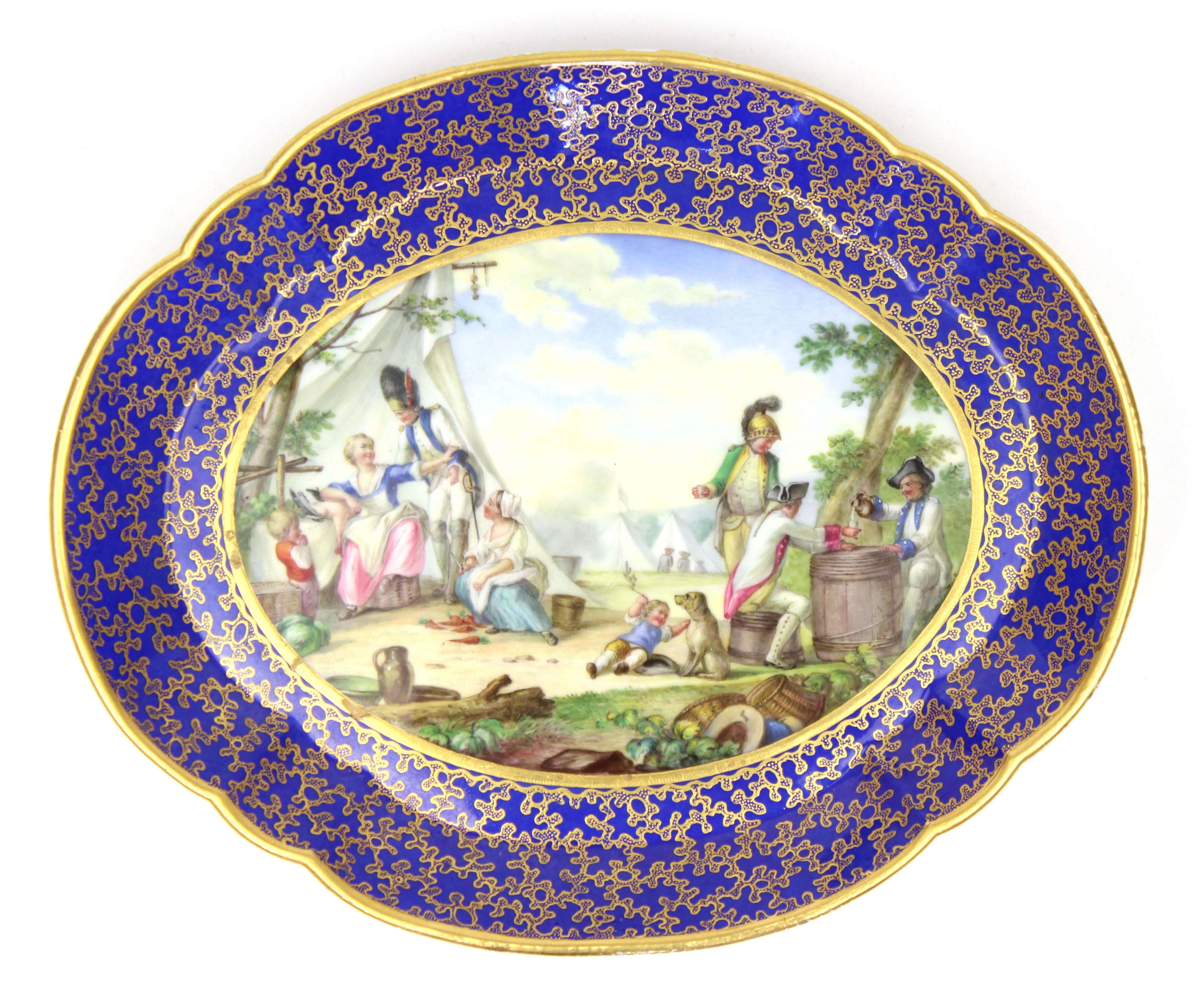A 19th Century Sevres Style Porcelain Plaque of a Military Encampment
