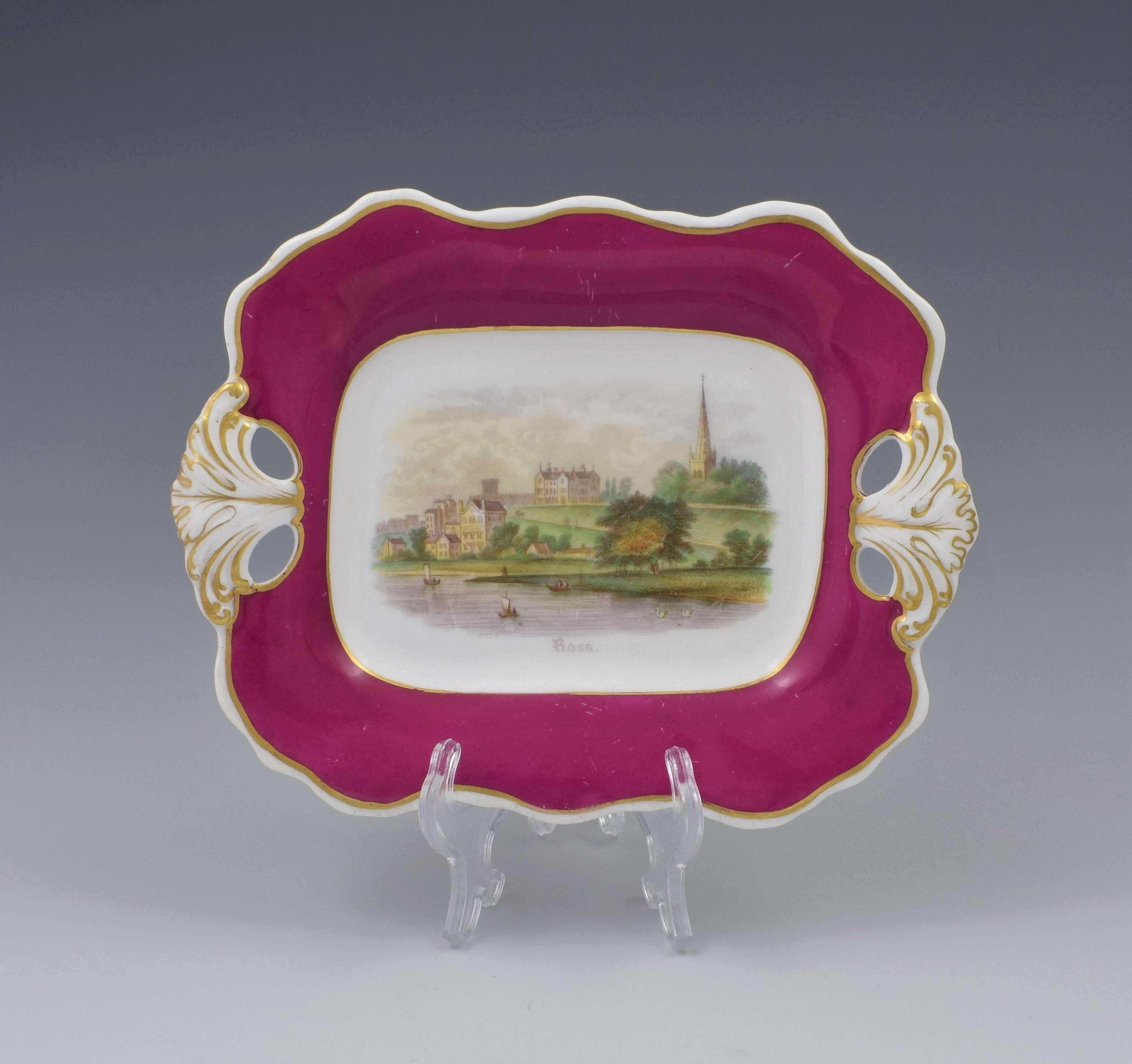 Antique Davenport Porcelain Dessert Dish View Of Ross-On-Wye c.1840