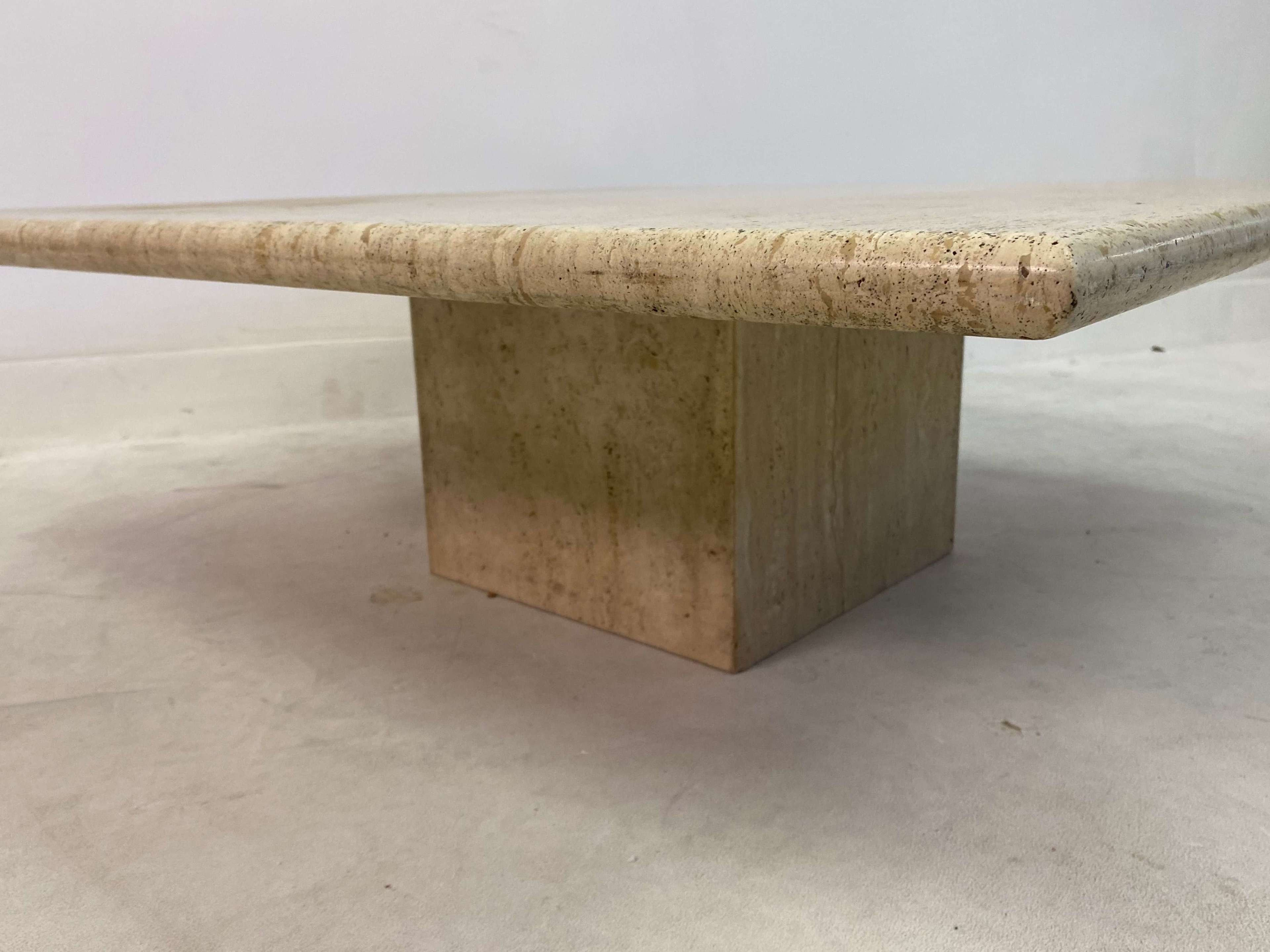 1970s Italian Square Coffee Table In Travertine In Antique Coffee Tables