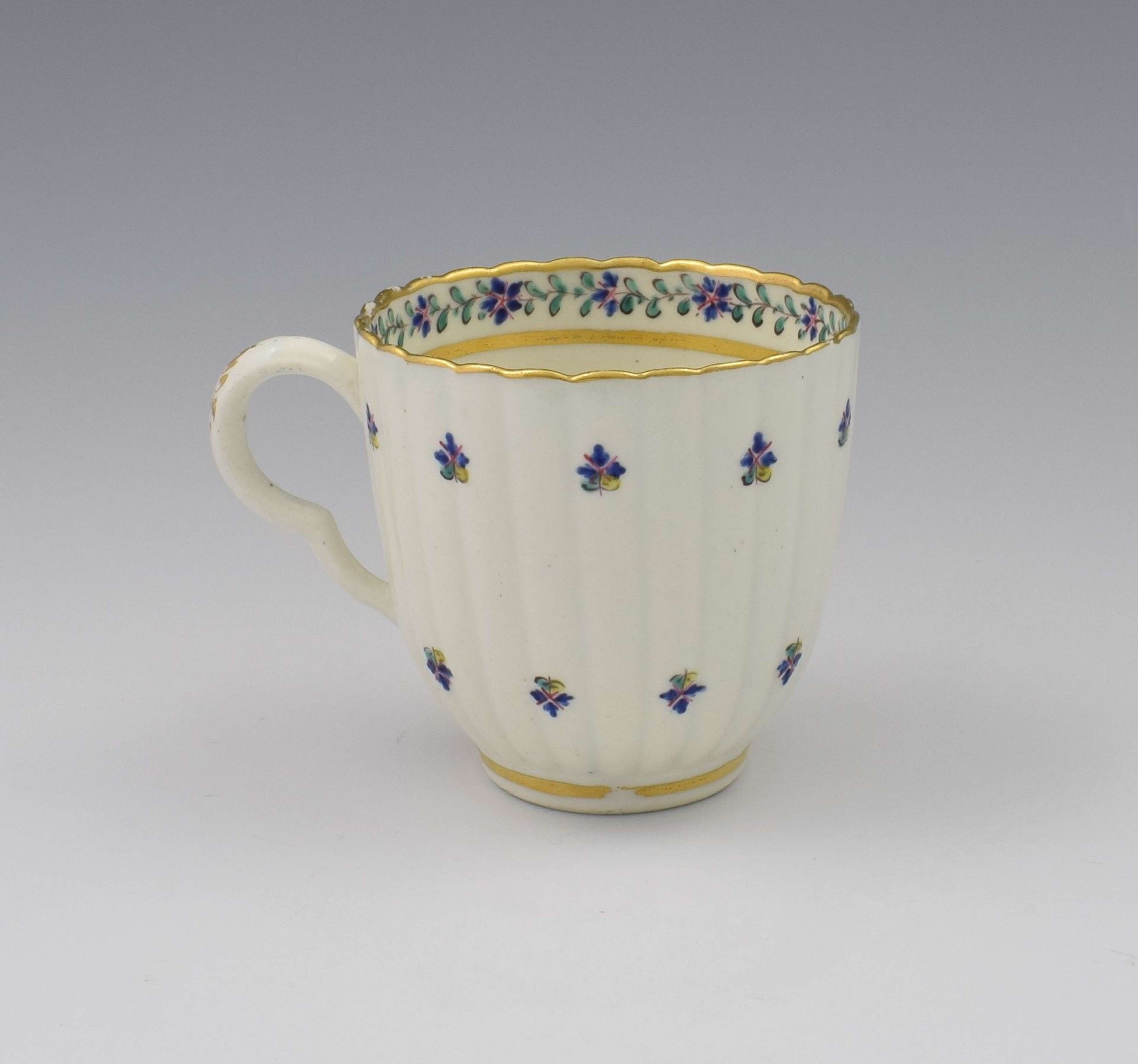 18th Century Caughley Porcelain Broseley Fluted Coffee Cup c.1795