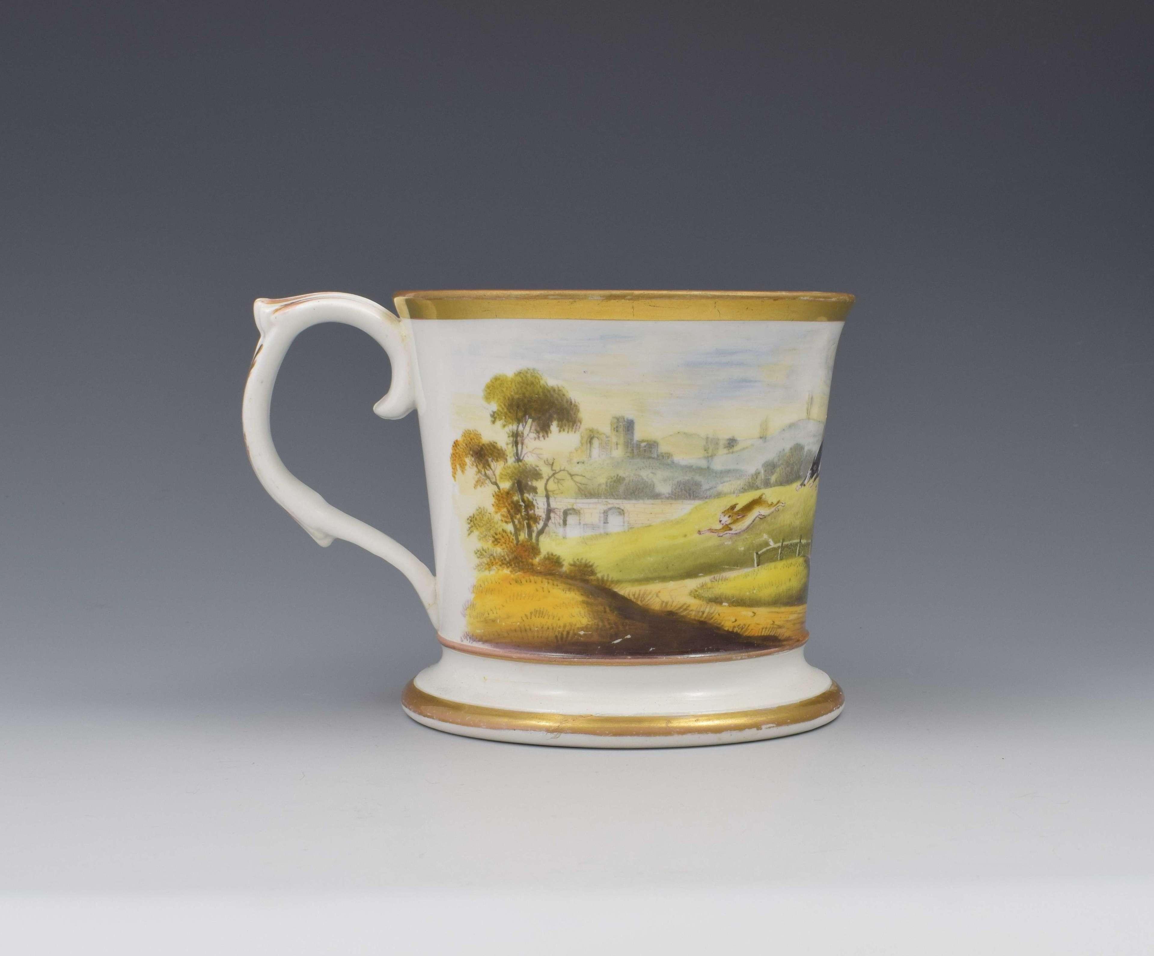 Unusual English Porcelain Porter Mug Hare Coursing Scene c.1830