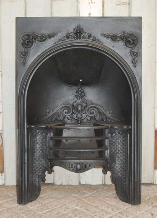 Cast Iron Inserts, Antique Victorian Cast Iron Fireplace Grate