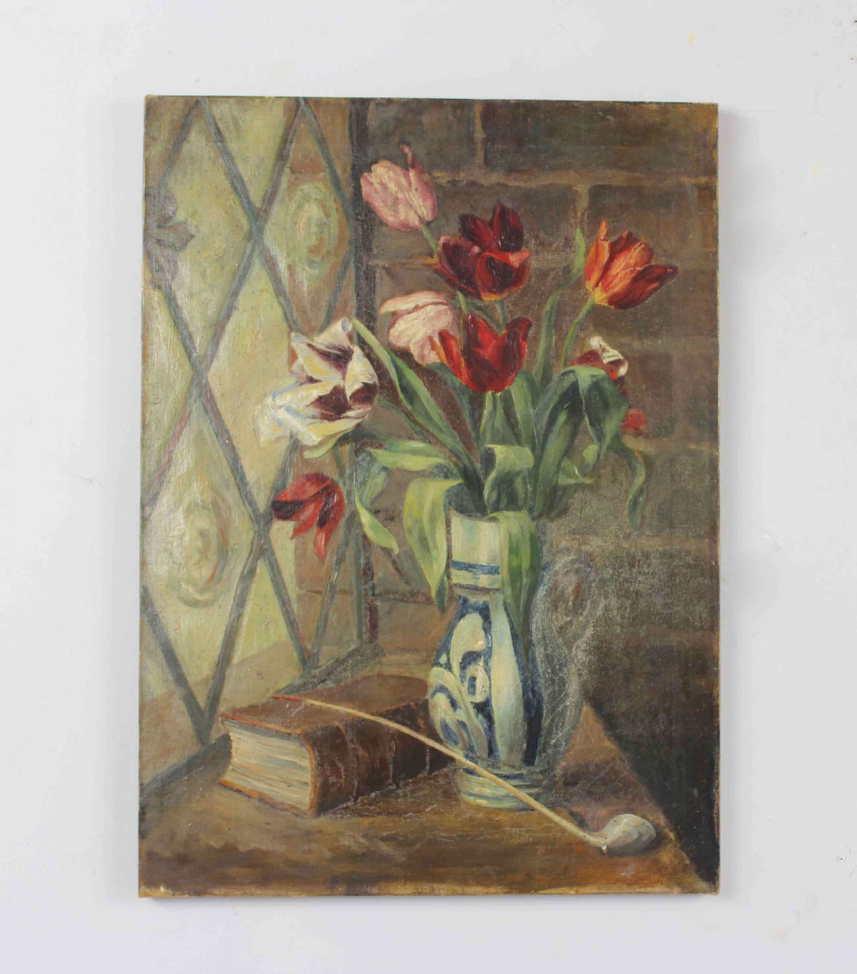 Oil on canvas - tulips in a vase