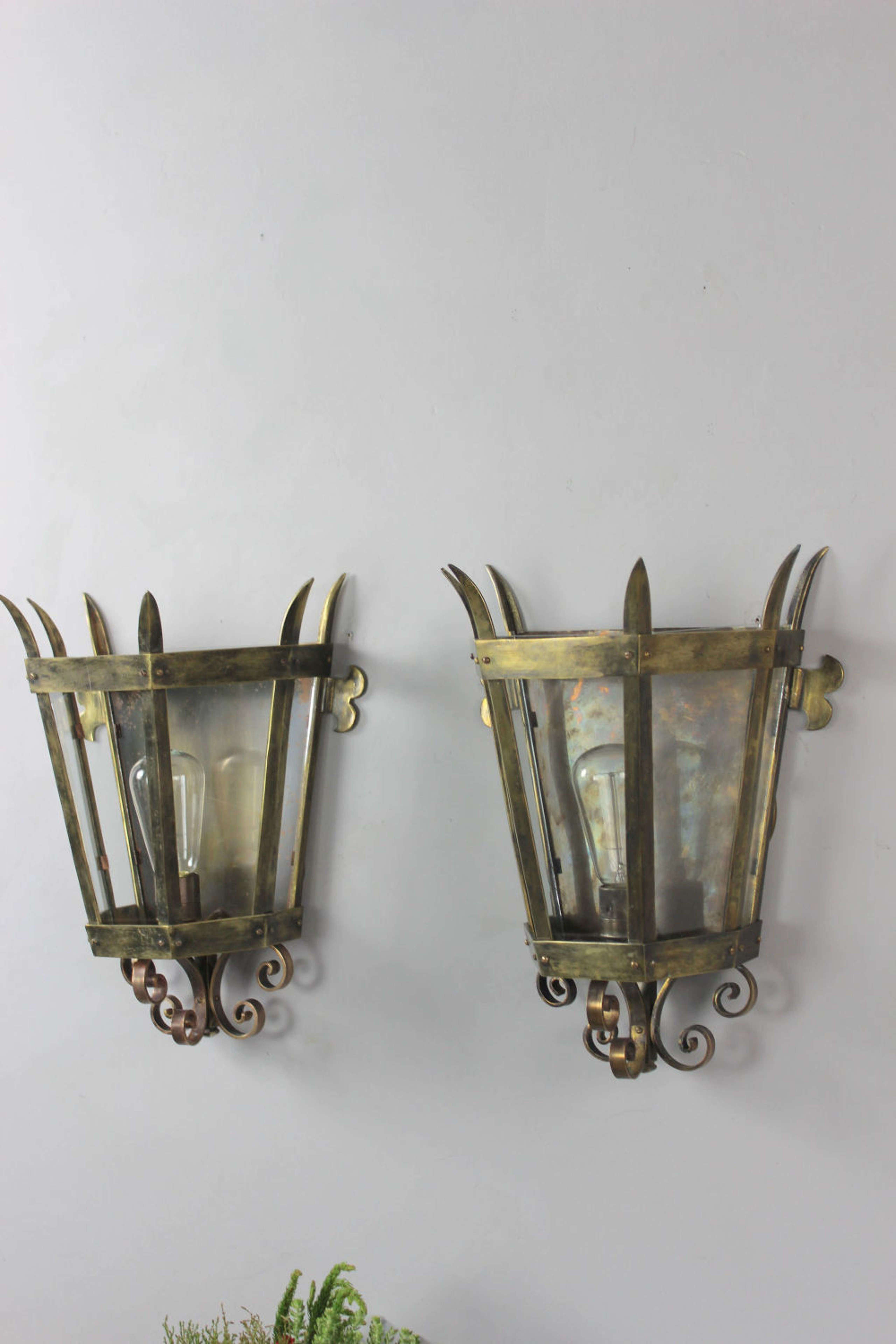 3 pairs of tapered brass Italian wall lanterns in Antique Lanterns