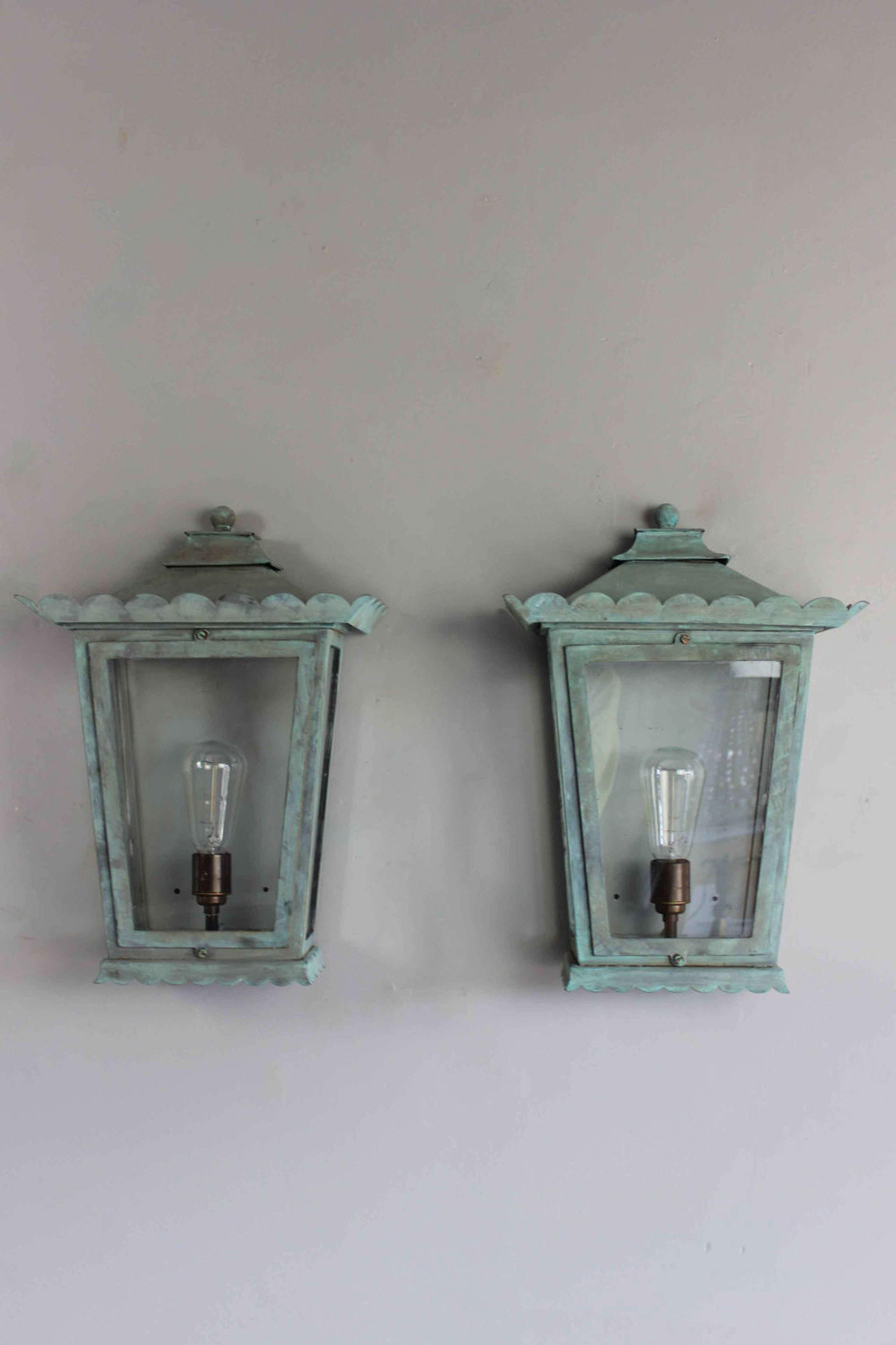 NDA made verdigris outside wall lanterns