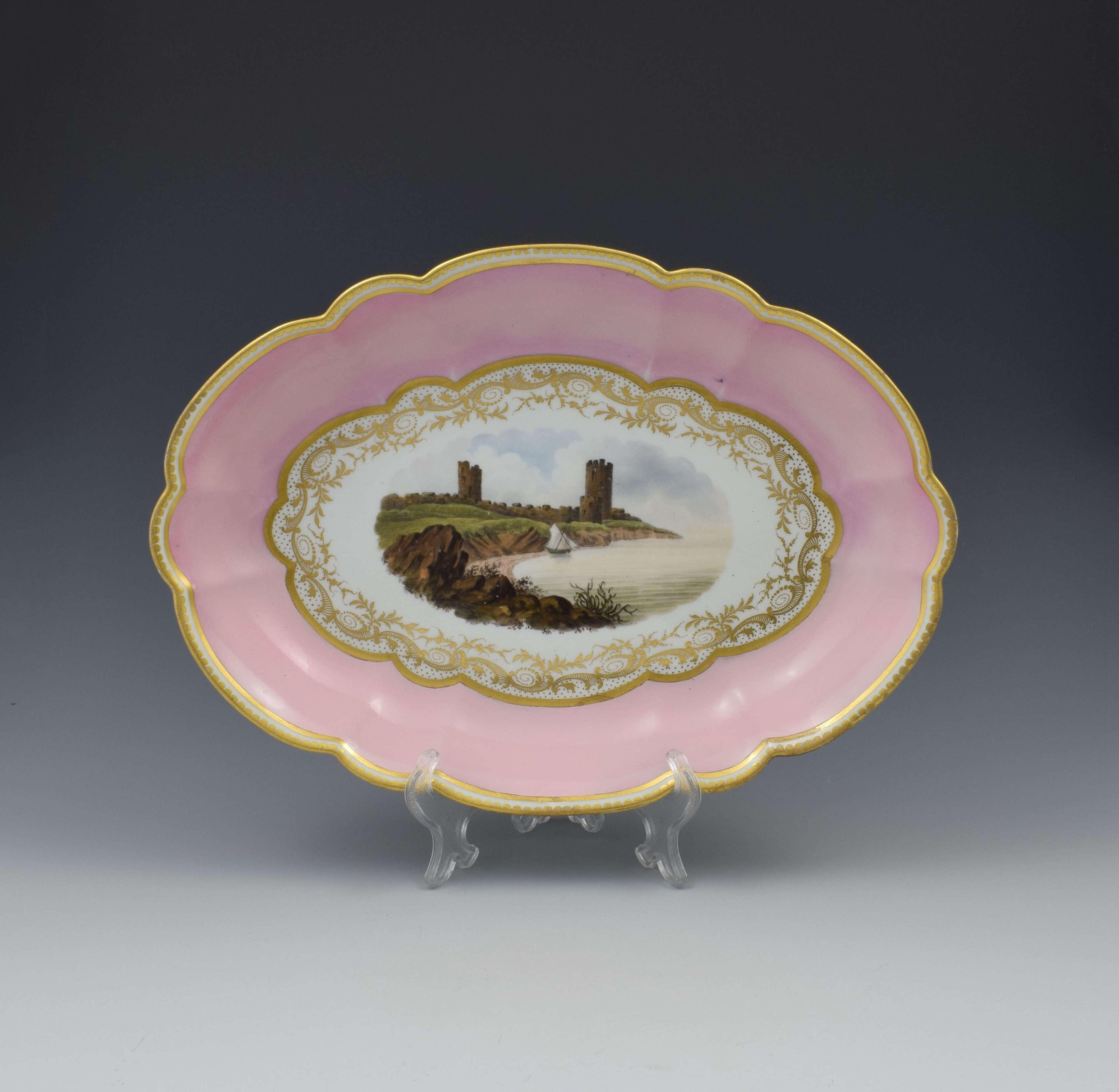 Pale Pink Worcester Barr, Flight & Barr Porcelain Landscape Dish