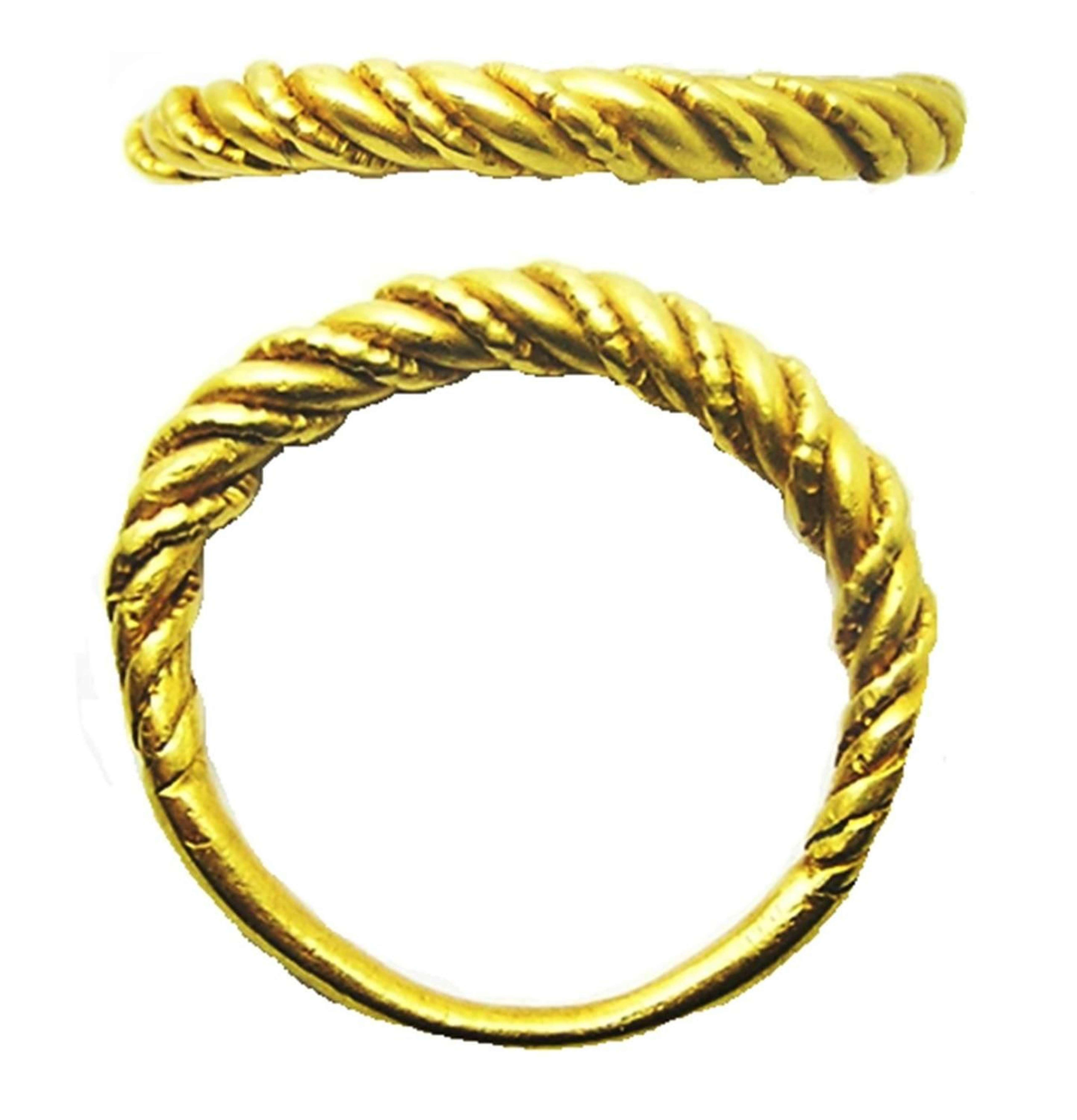 Scandinavian Viking Twisted Gold Finger Ring