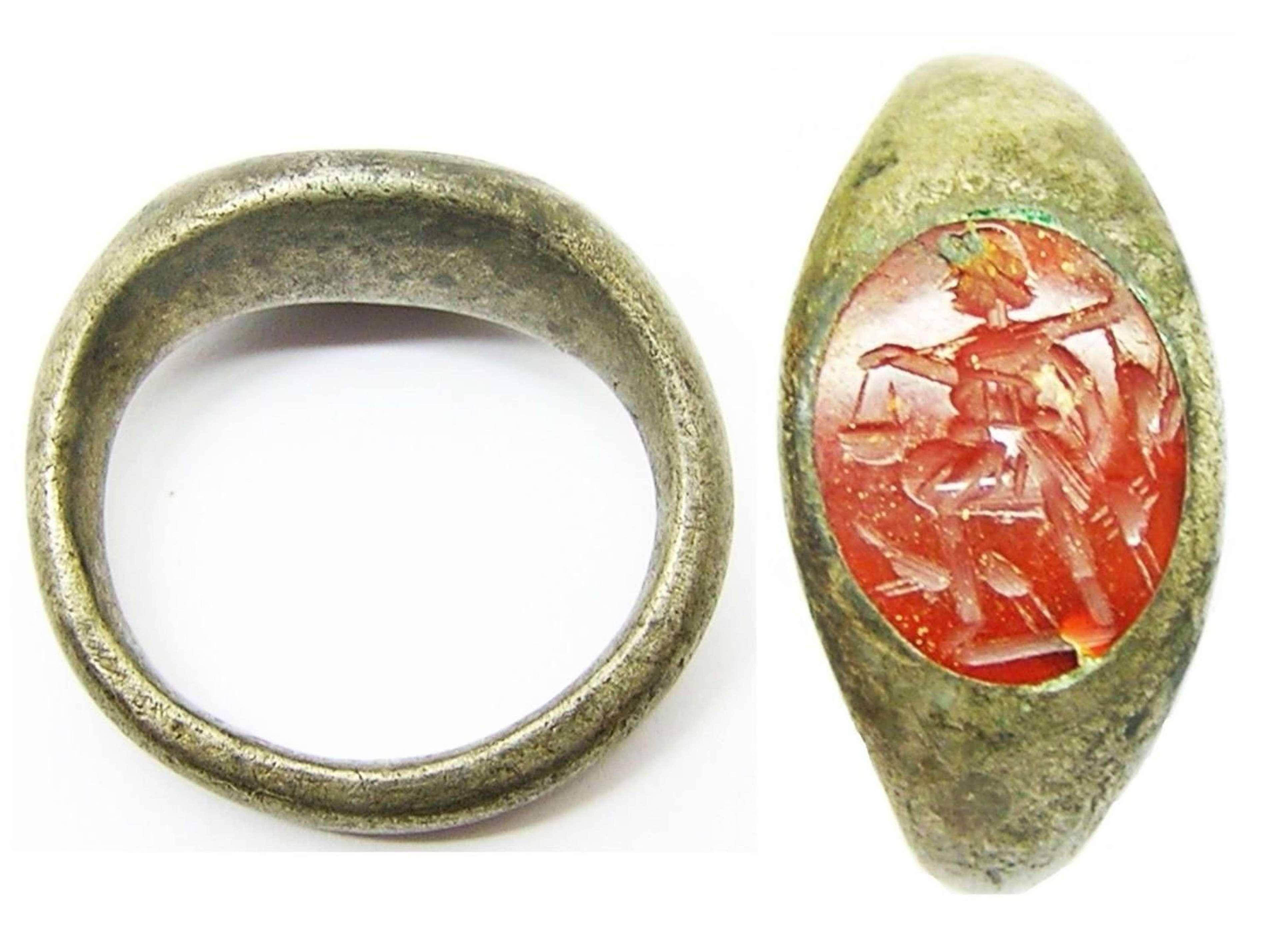 Roman Silver Intaglio Ring of a Victorious Hunter