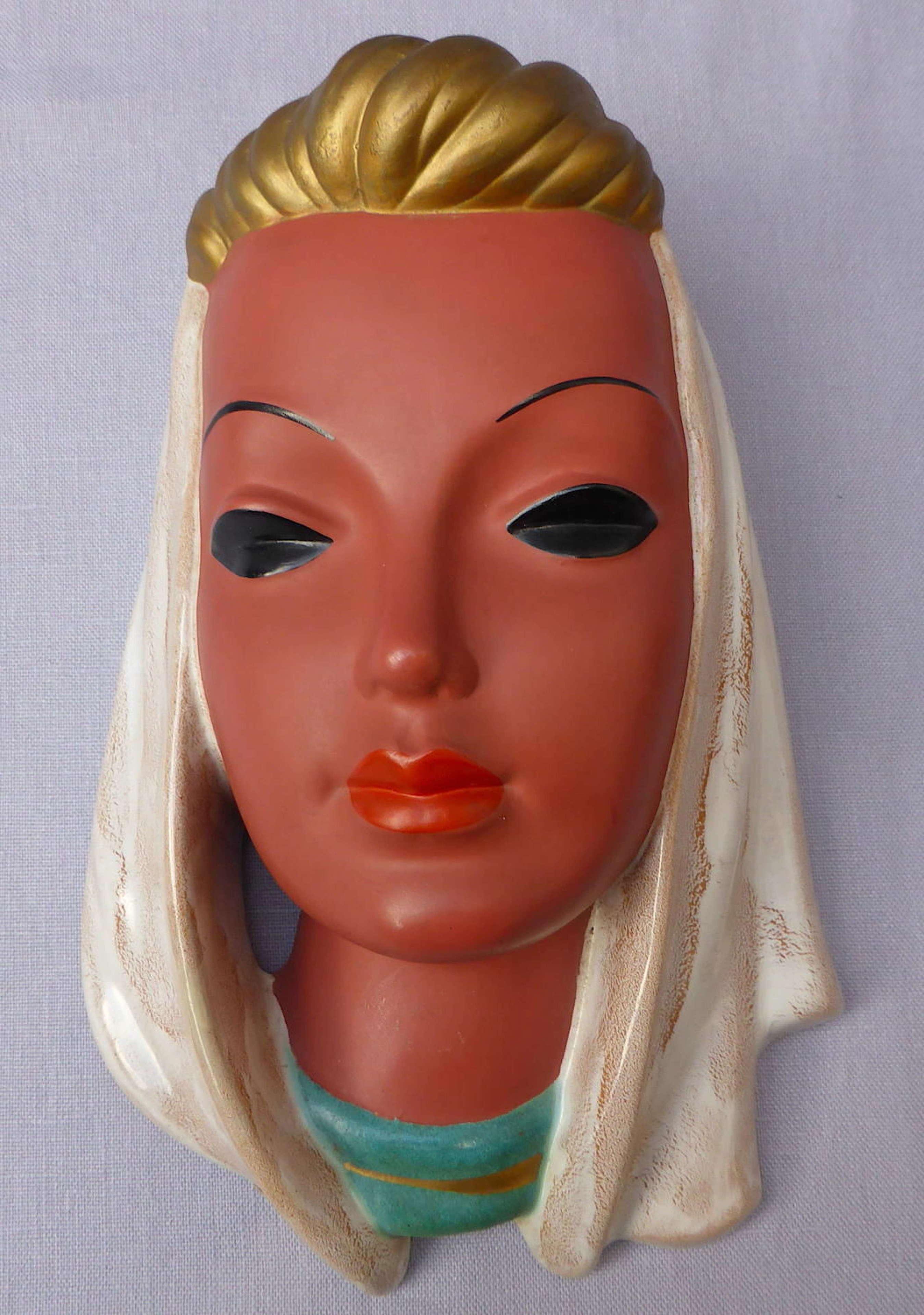 1950s Goldscheider ceramic wall mask by Adolf Prischl
