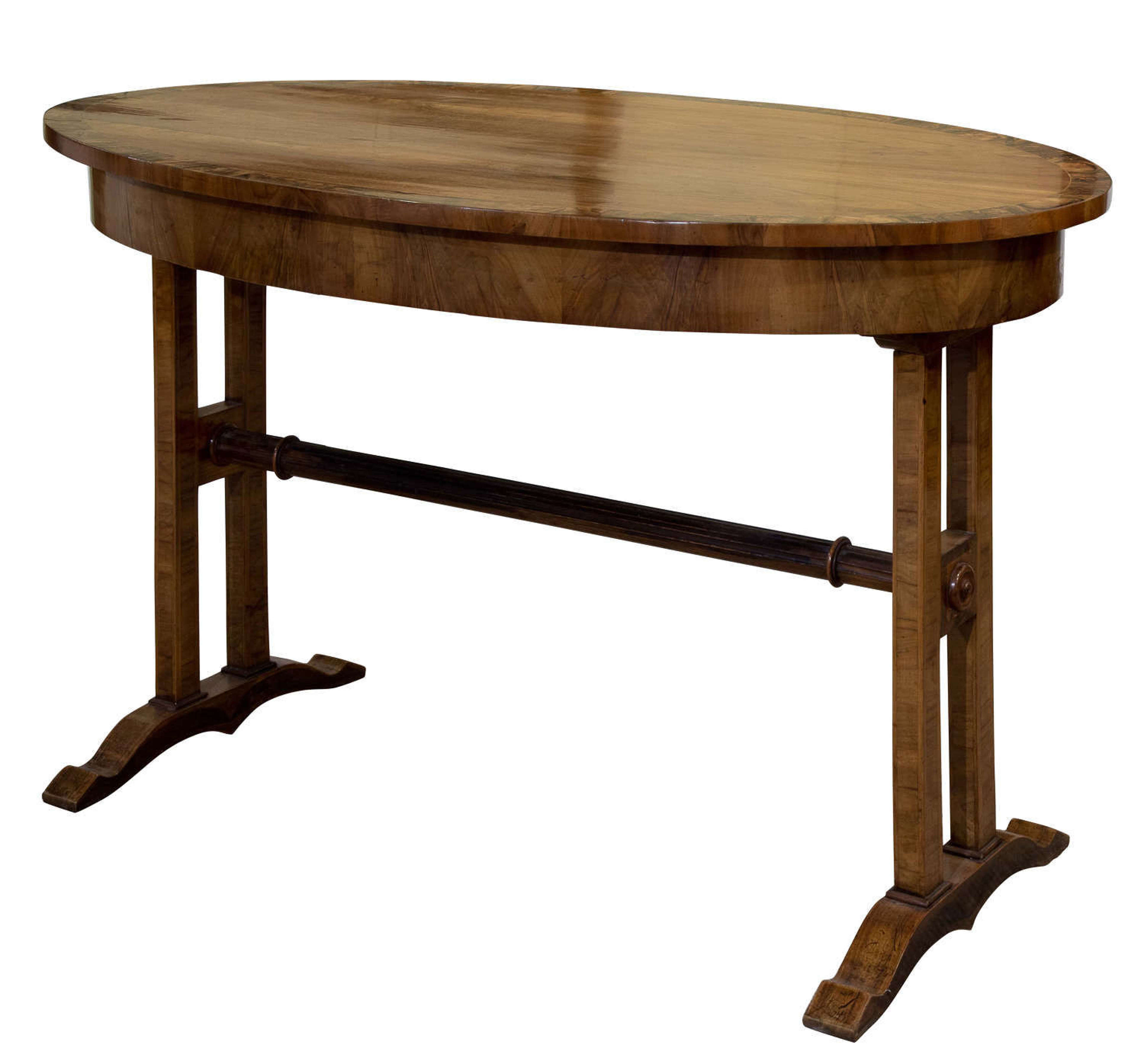 Walnut Empire style centre table with cross band edge