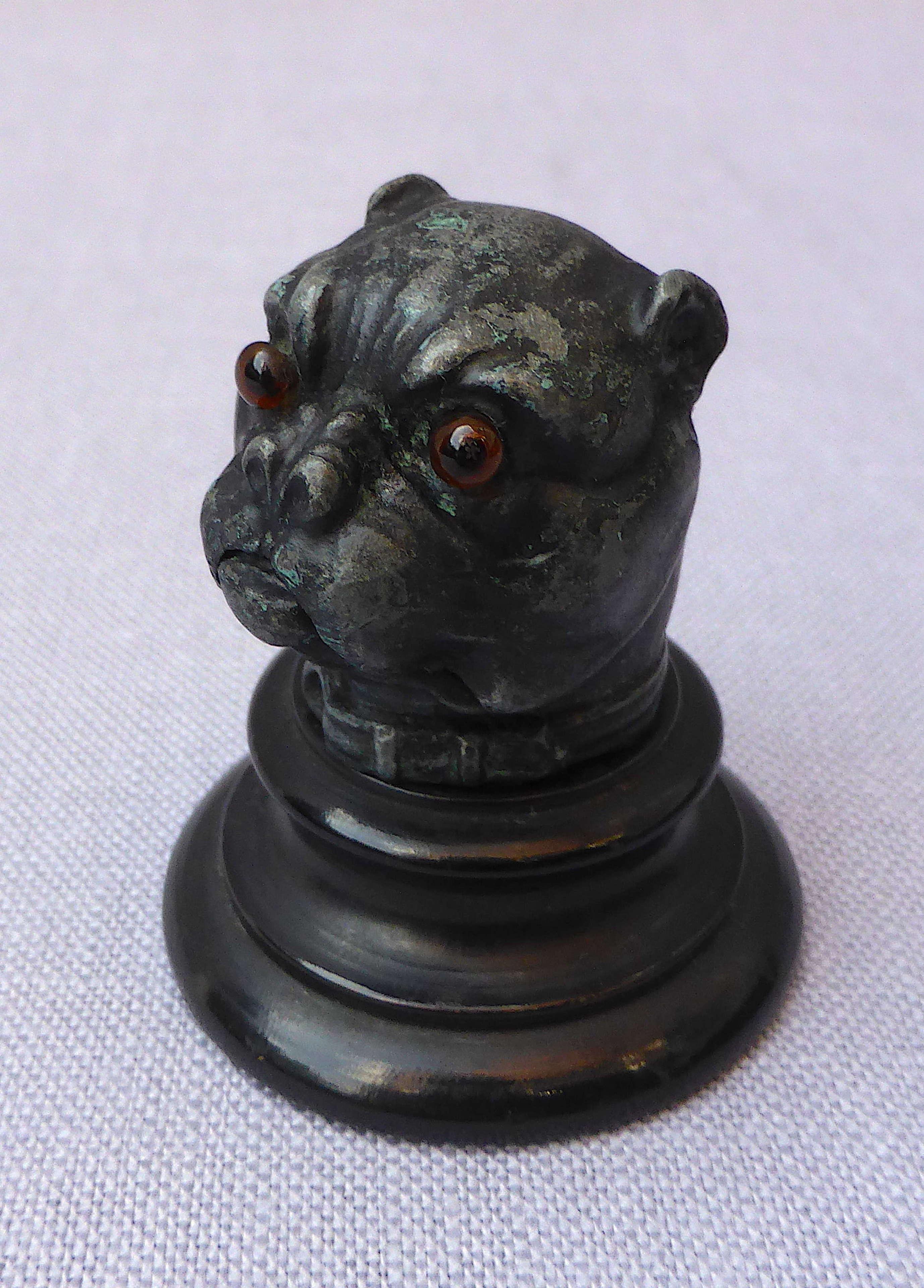 Unusual Victorian pug dog thimble holder