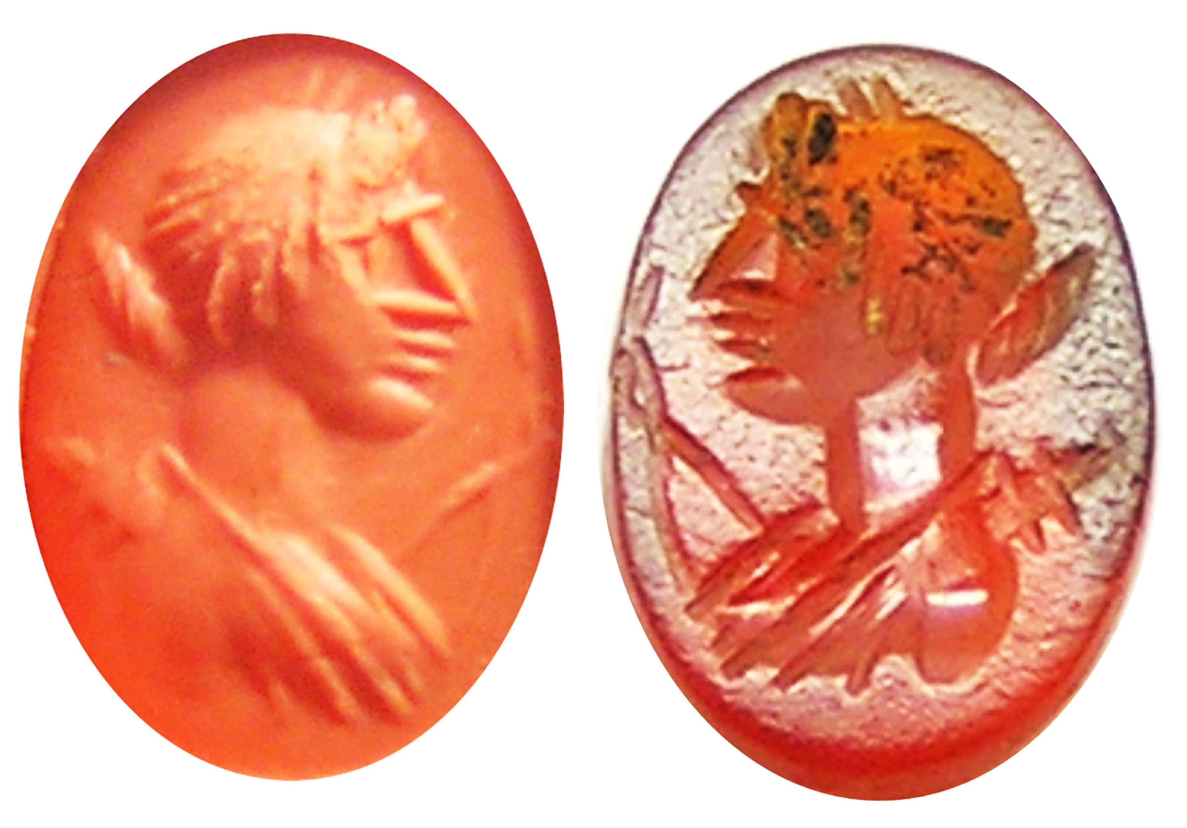 Ancient Roman intaglio portrait of goddess Diana