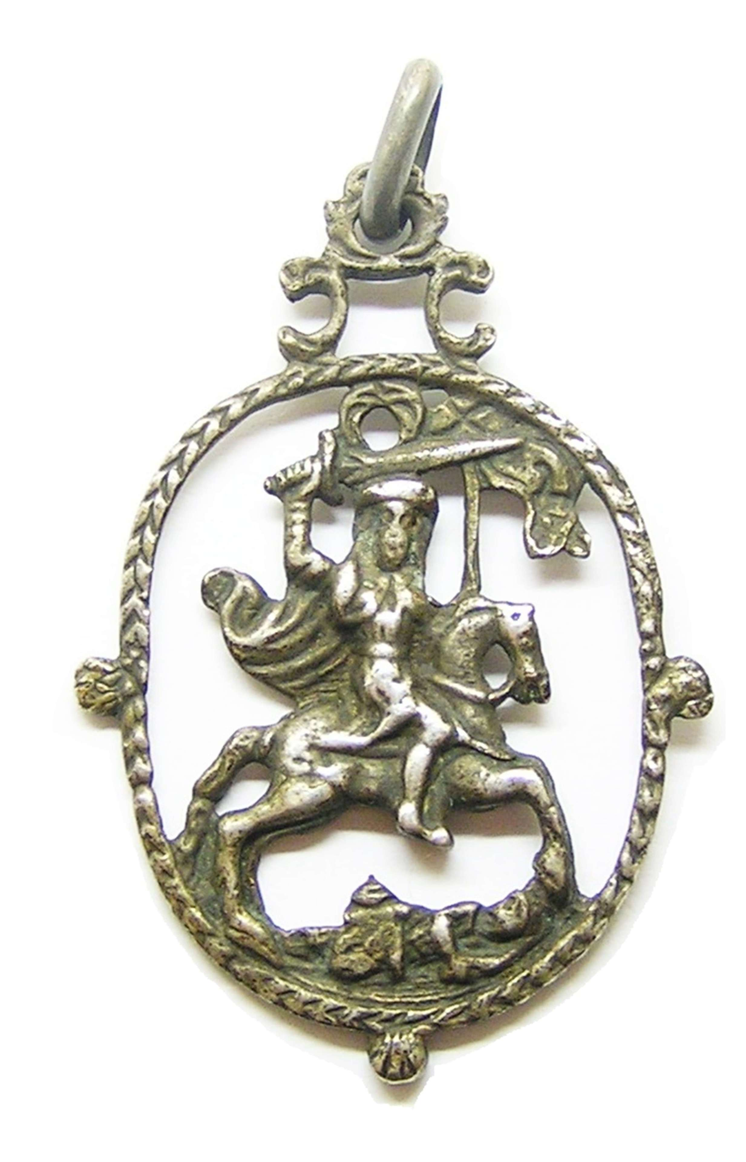 Saint James the Moor-slayer devotional silver pendant