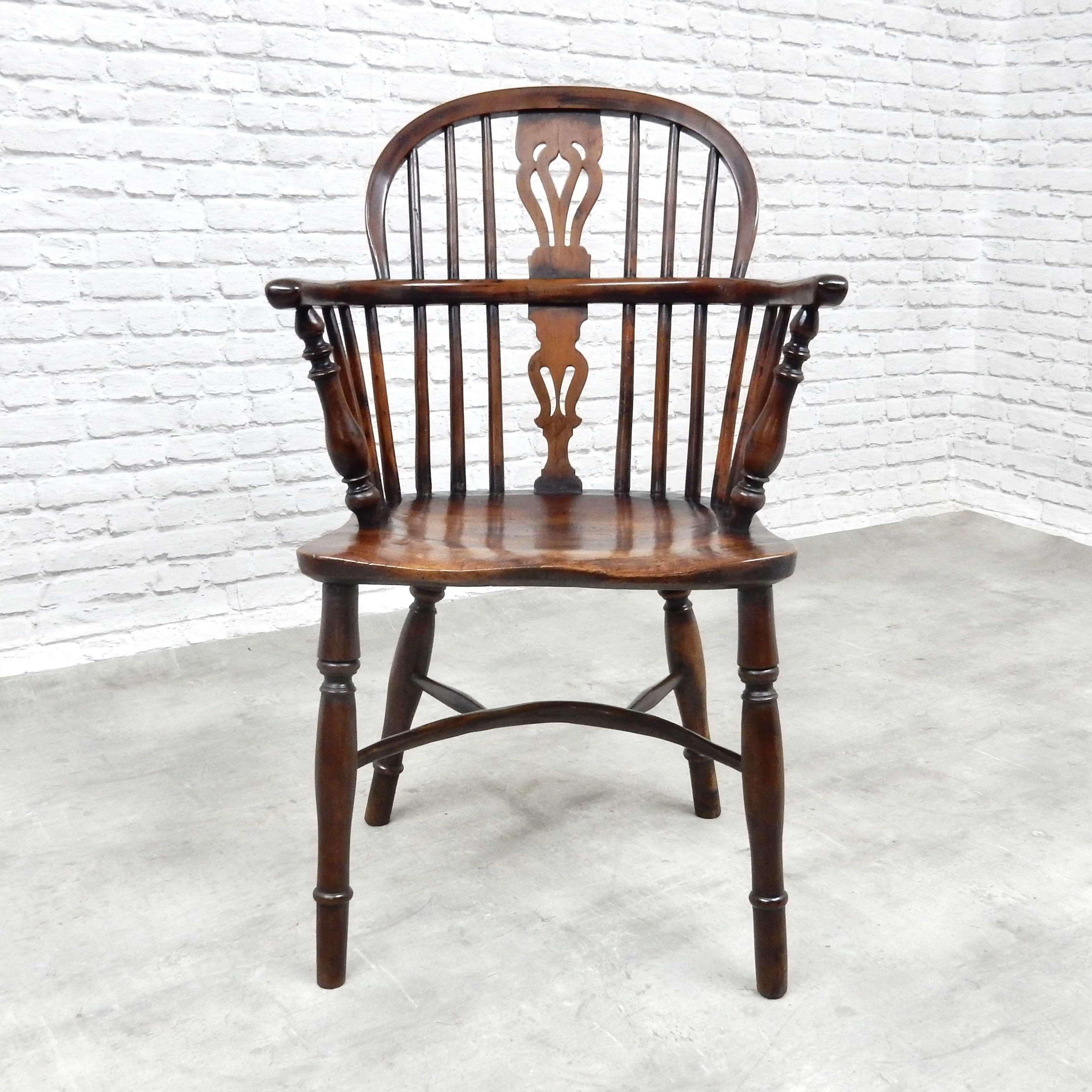 Antique Yew Wood Windsor Armchair