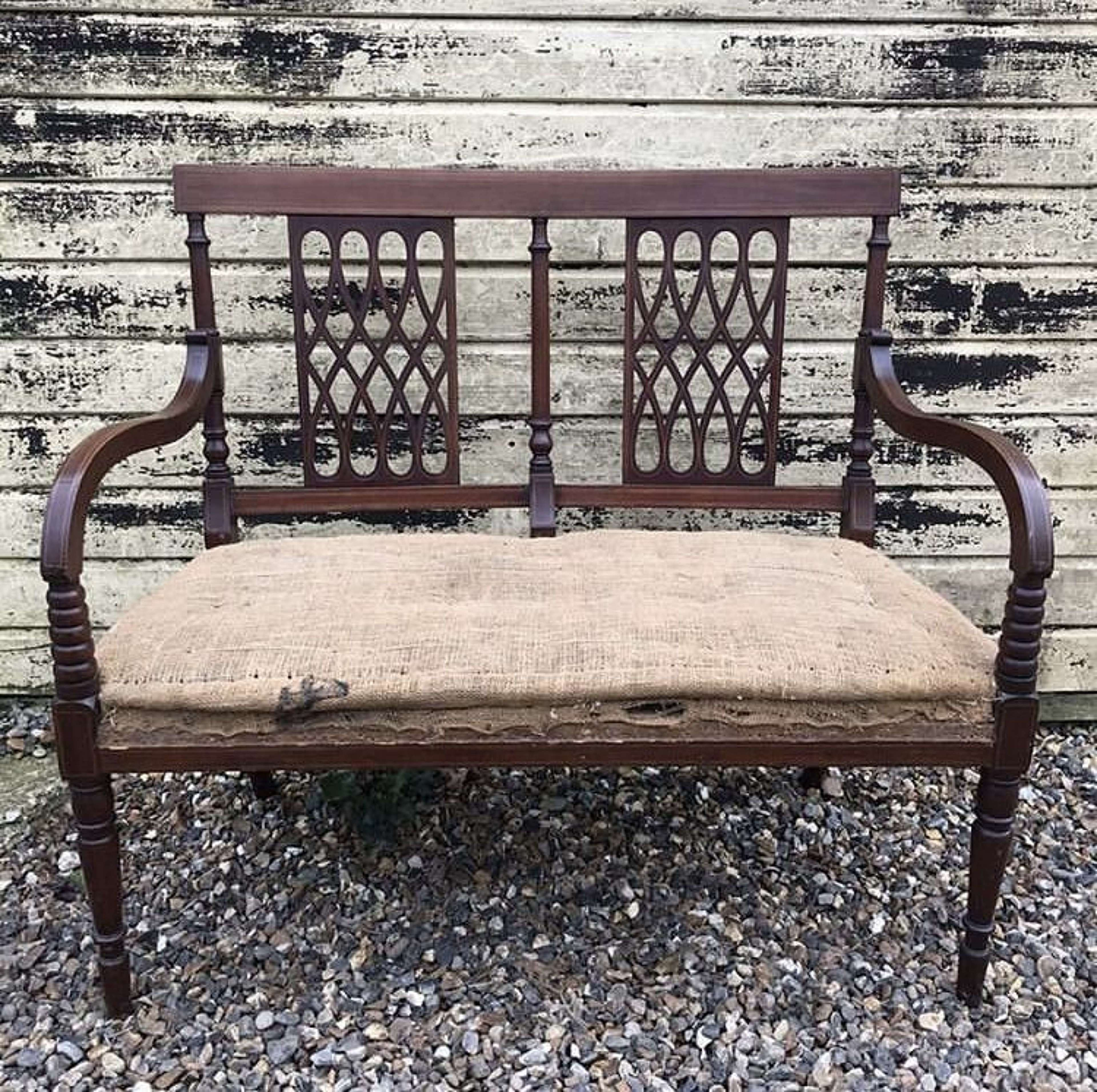 Edwardian 2 seater open armchair or sofa with inlaid frame