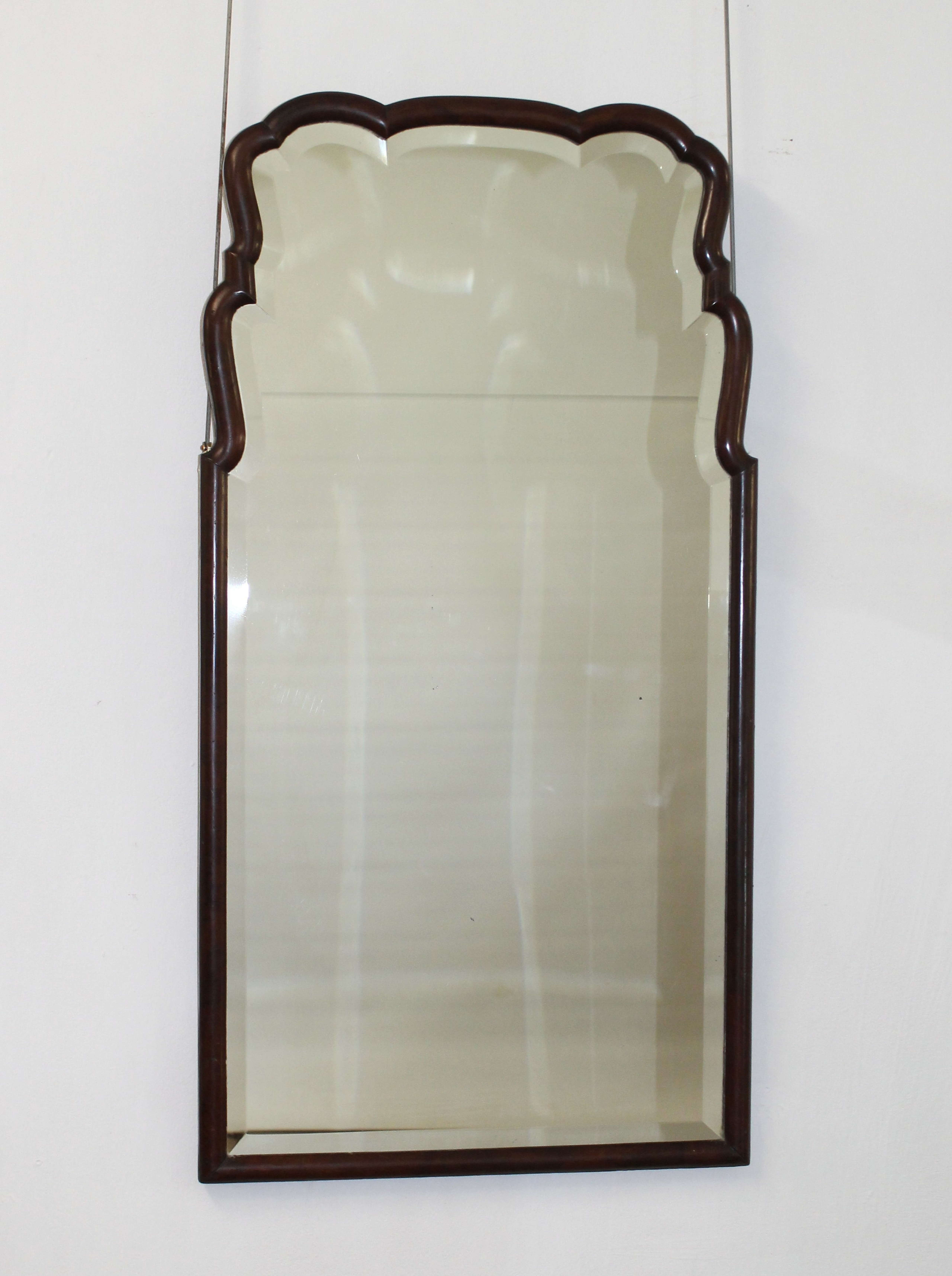 Queen Anne style, wood framed, bevelled, antique mirror