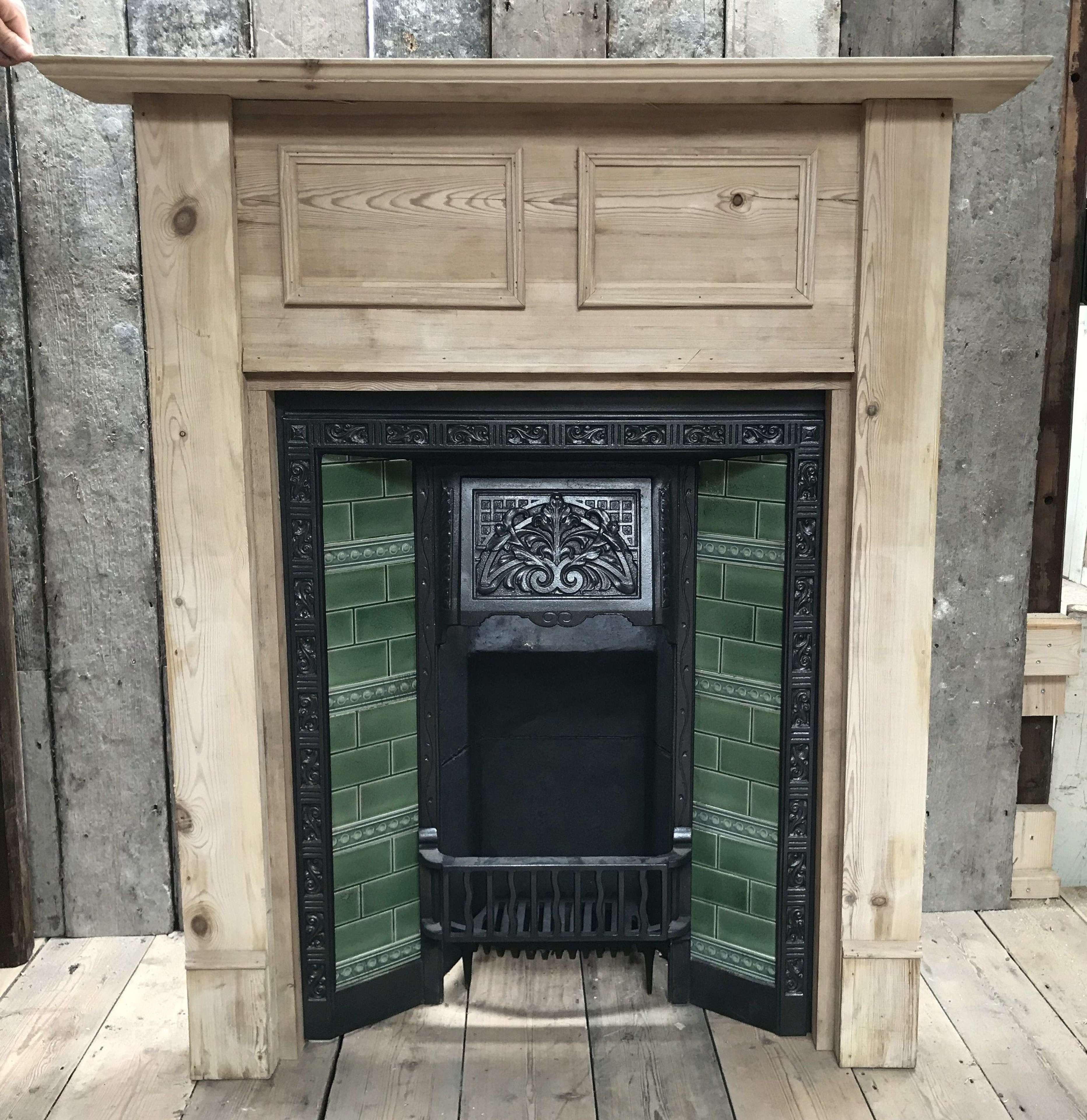 FC0085 A TILED EDWARDIAN FIRE INSERT WITH RECLAIMED PINE FIRE SURROUND