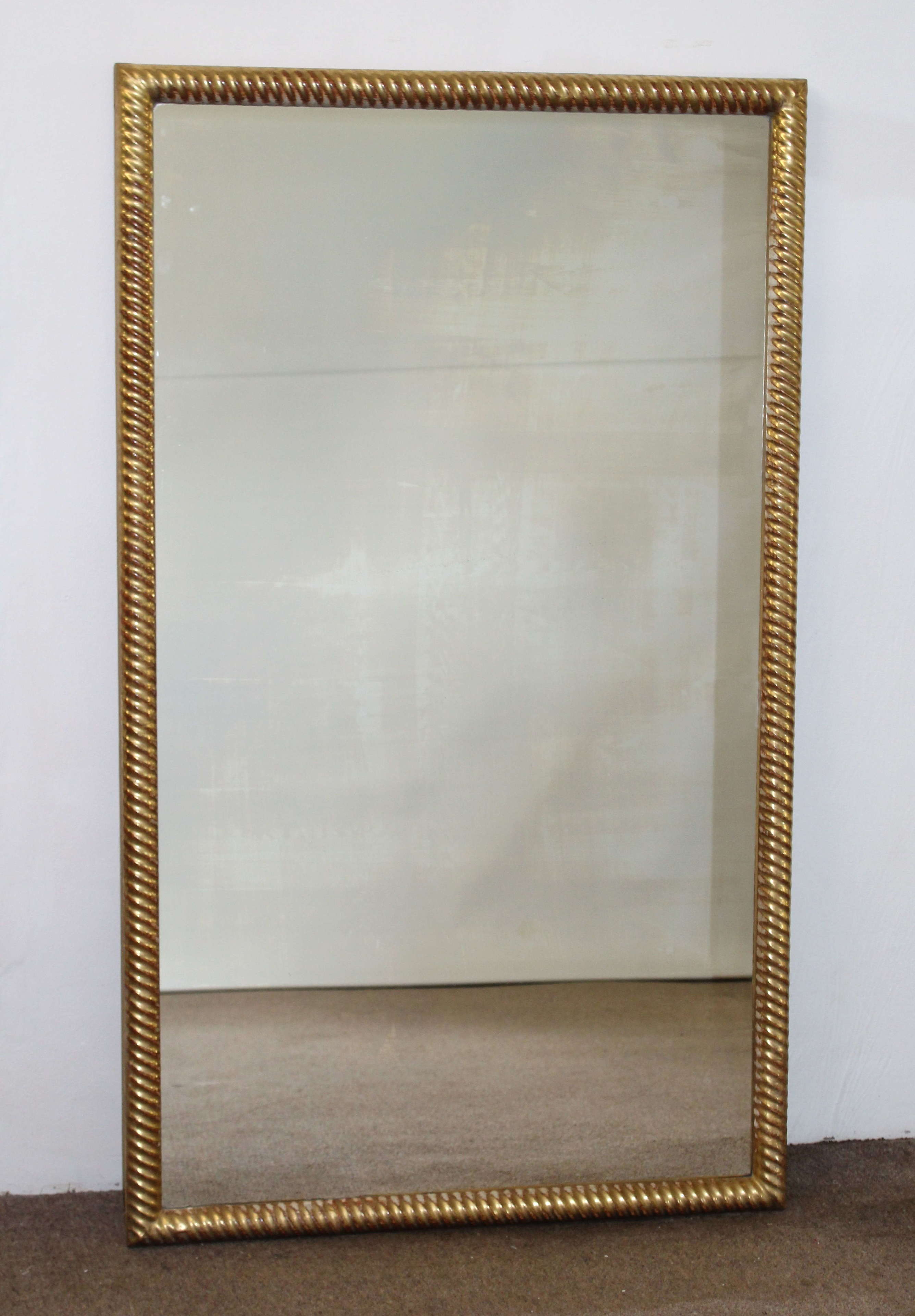Antique French mirror with gilt ropetwist frame