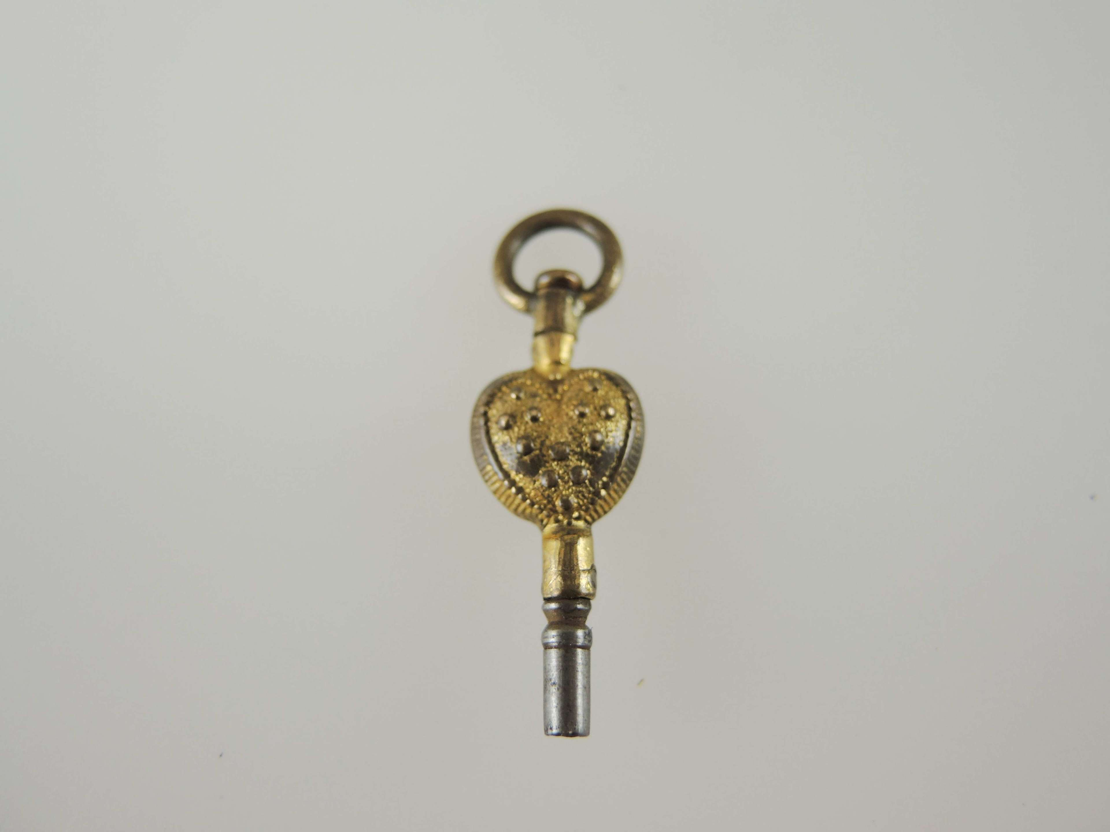 Gilt Heart shaped antique pocket watch key c1780