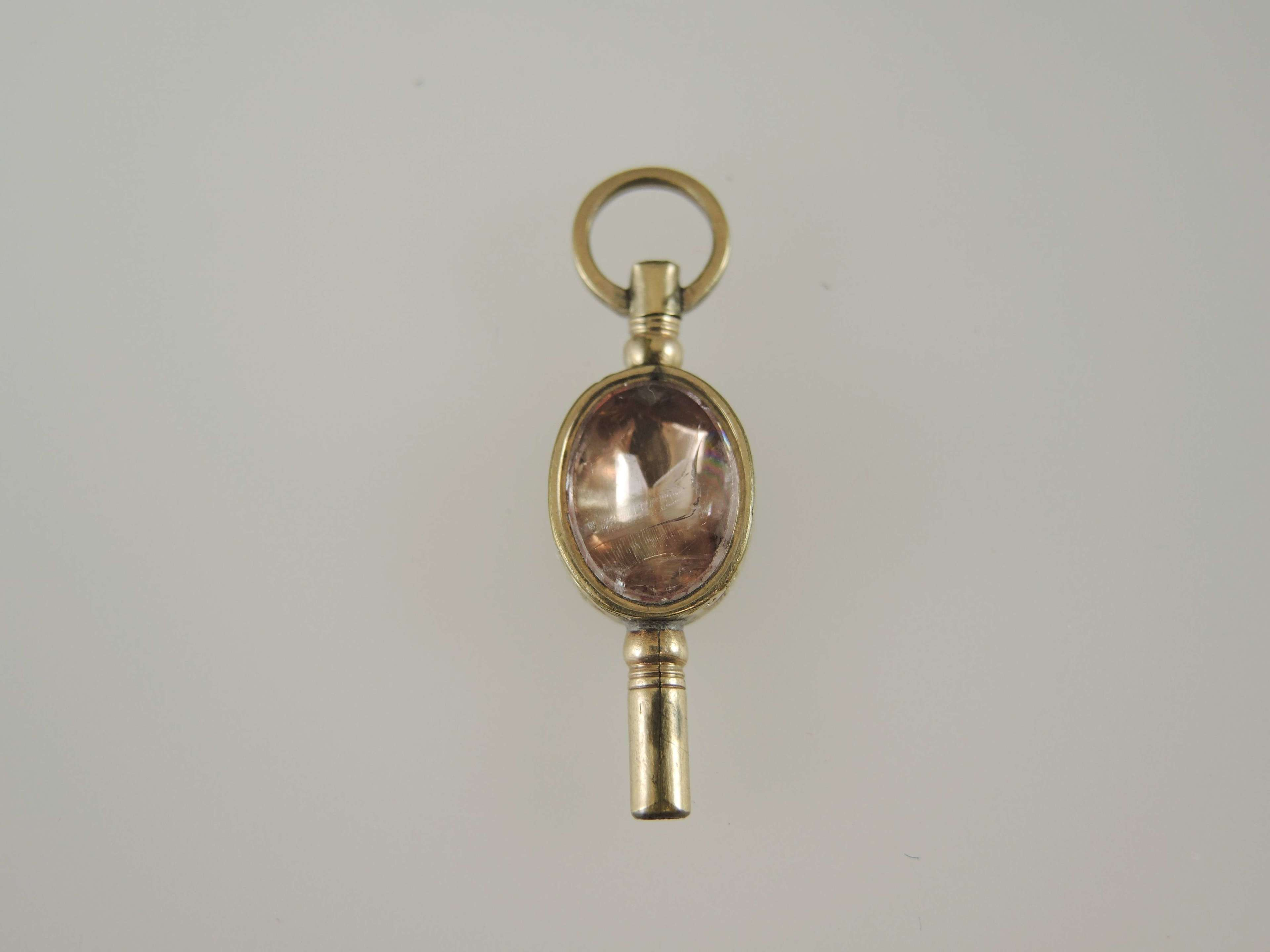 Beautiful Stone and glass set pocket watch key c1880