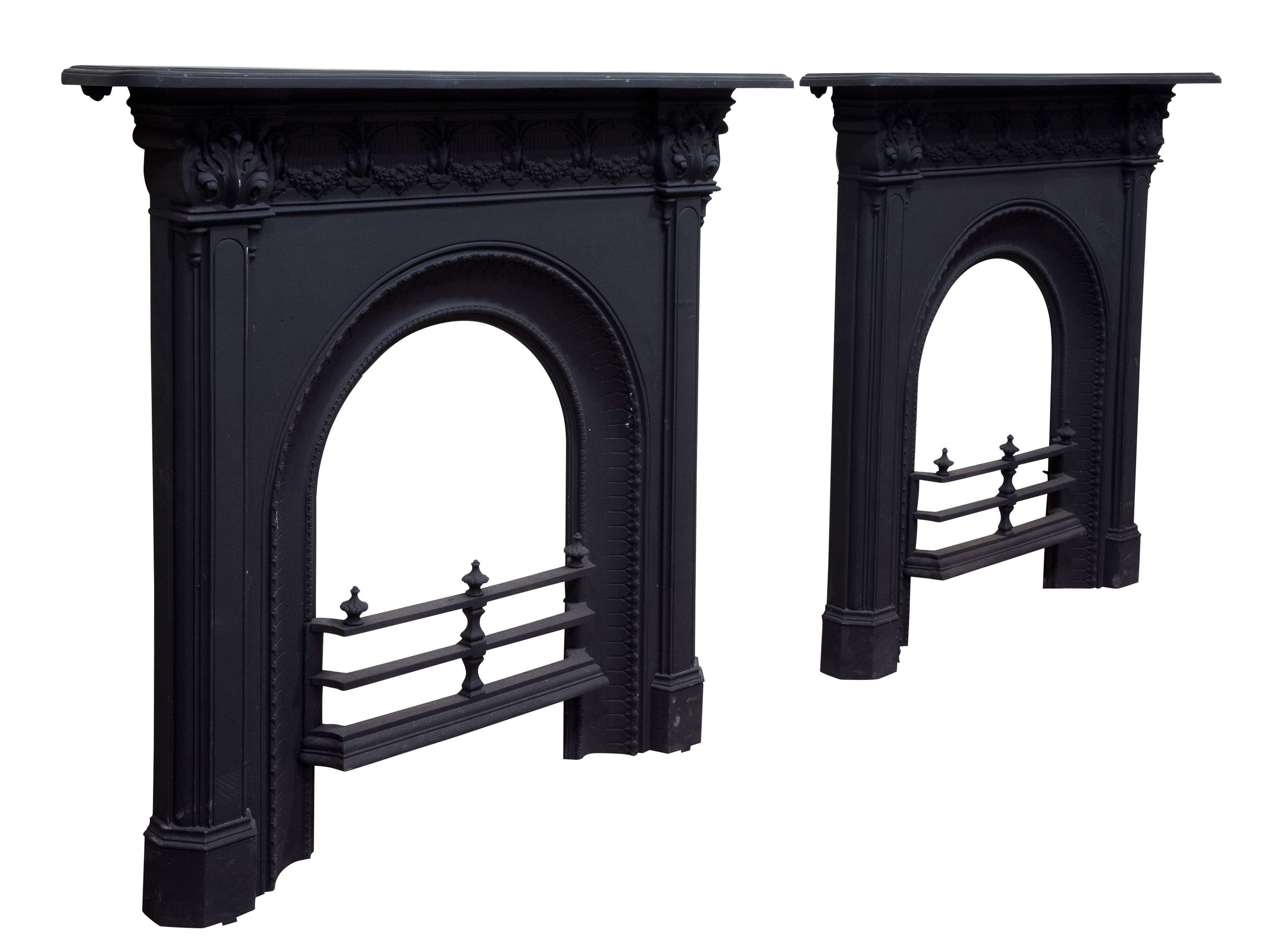 A Pair of Victorian Cast Iron Fire Surrounds c1870